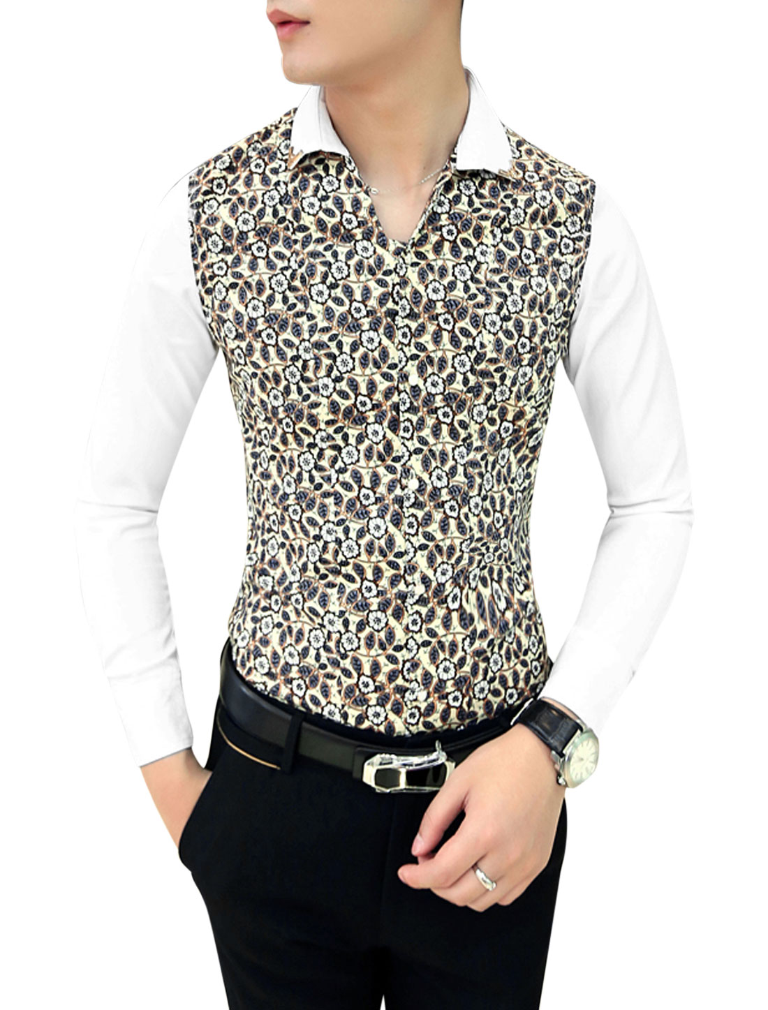 Men NEW Contrast Long Sleeves Contrast Floral Print Slim Cut Shirt Beige White M