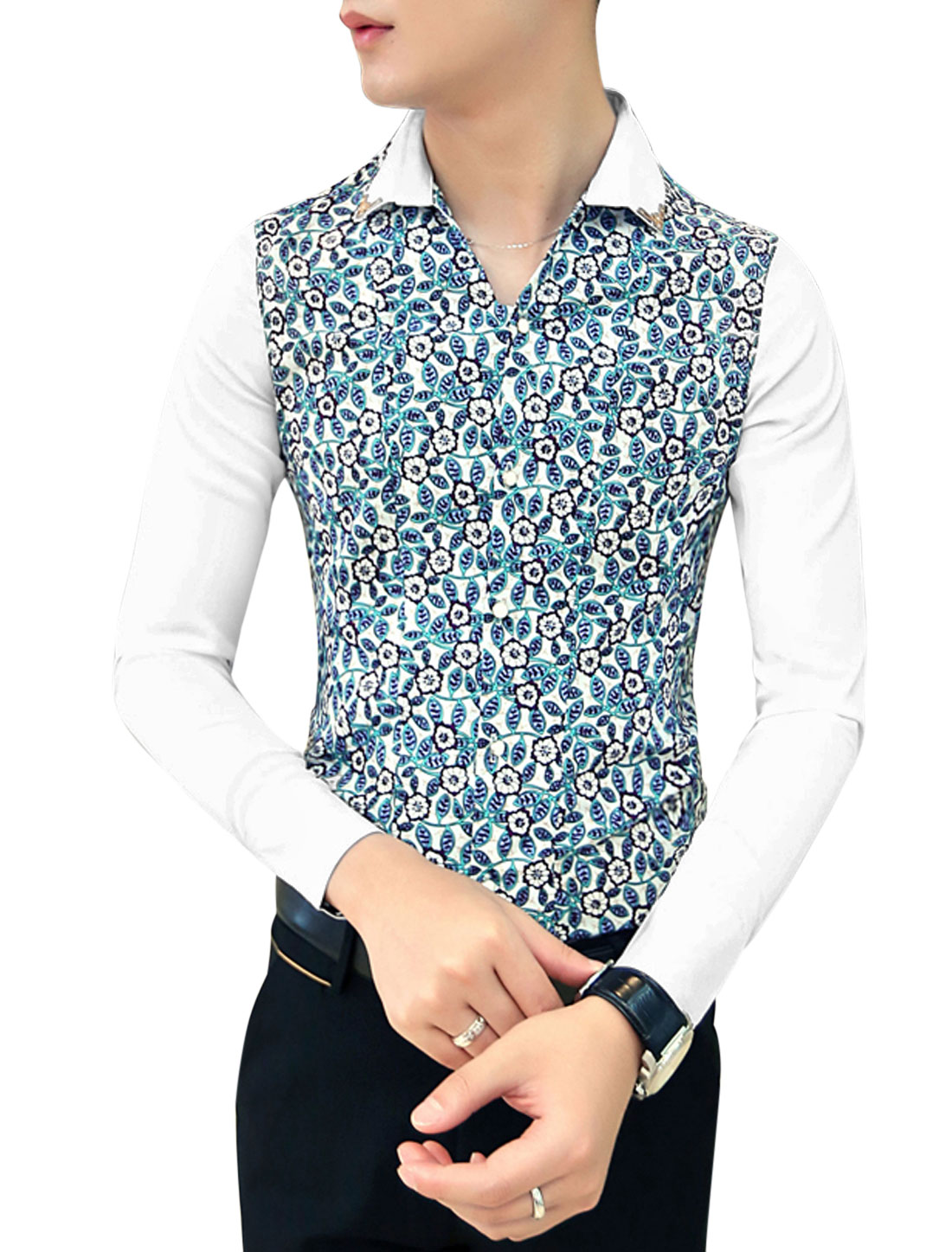 Men NEW Buttoned Cuffs Contrast Floral Print Slim Cut Shirt Blue White M