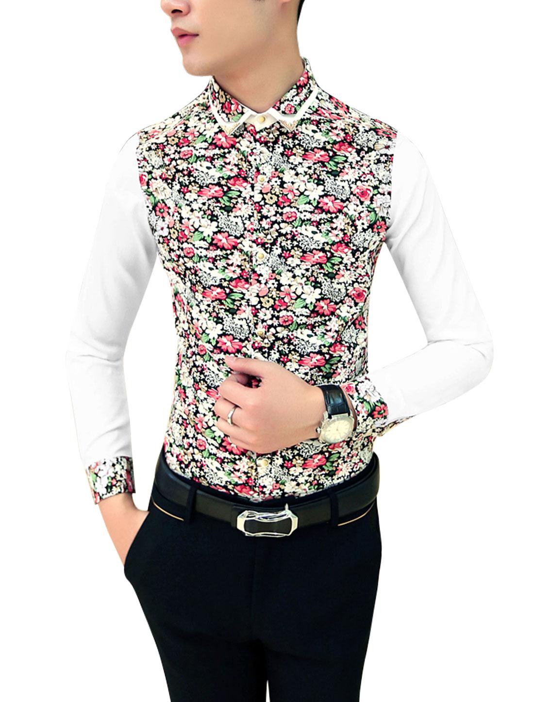 Men Contrast Buttoned Cuffs Contrast Floral Print Slim Cut Shirt Coral Beige M