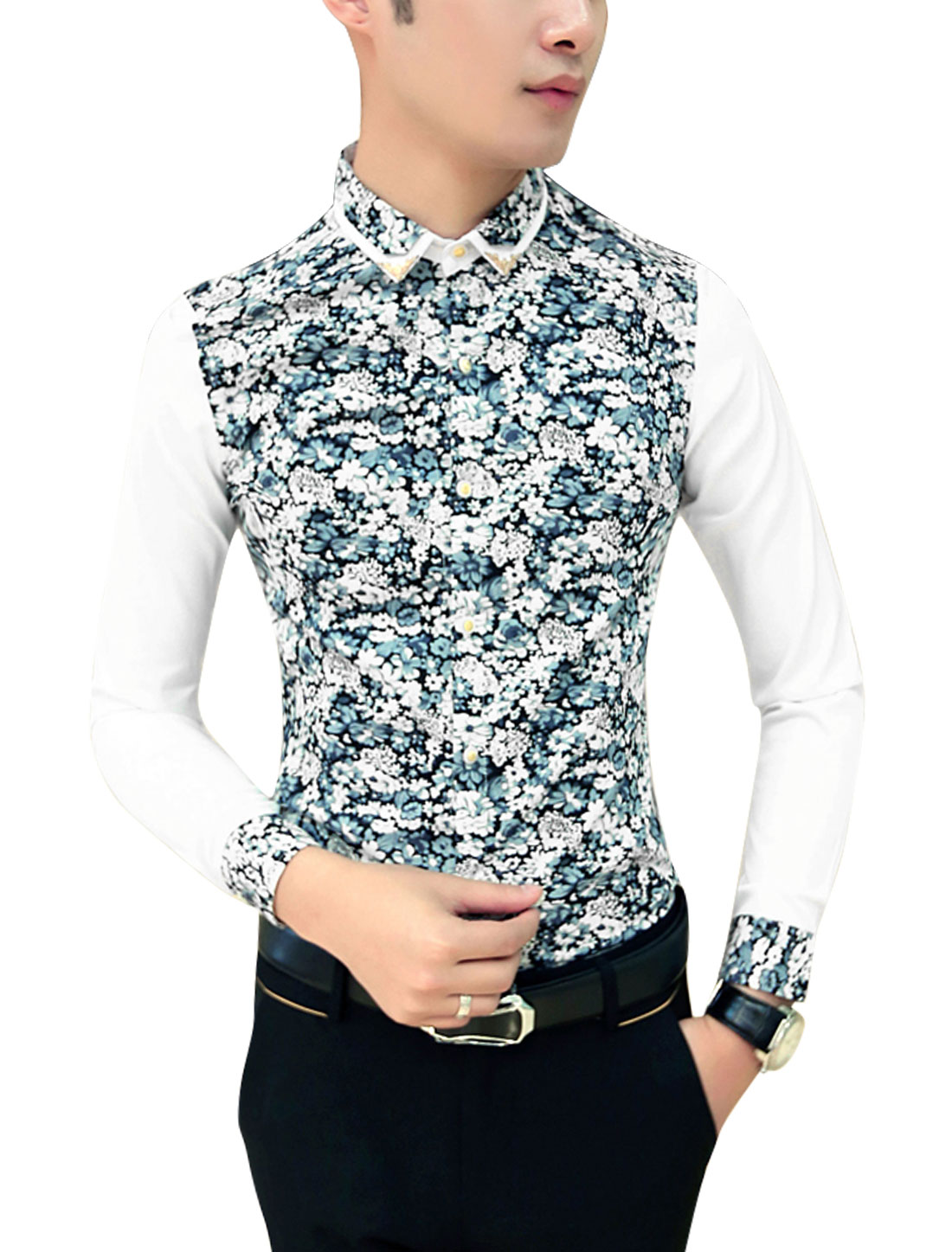 Men Layered Point Collar Contrast Floral Print Slim Cut Shirt Steel Blue Beige M