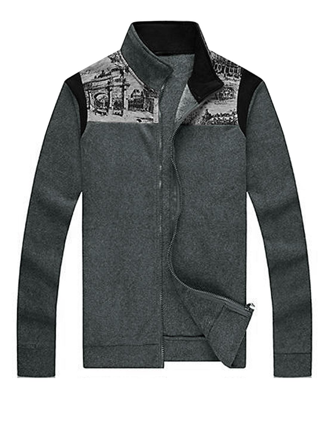 Man Charcoal Drawing Print Zip Up Stylish Dark Gray Casual Jacket L
