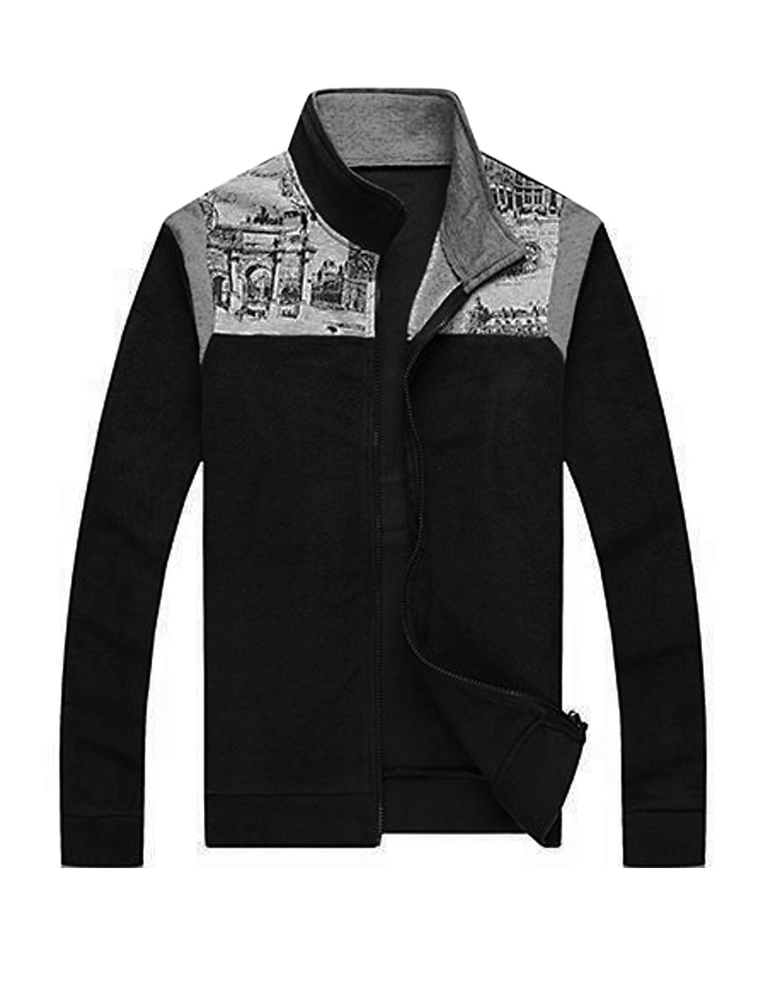 Stand Collar Zip Closure Front Black Casual Jacket for Man M