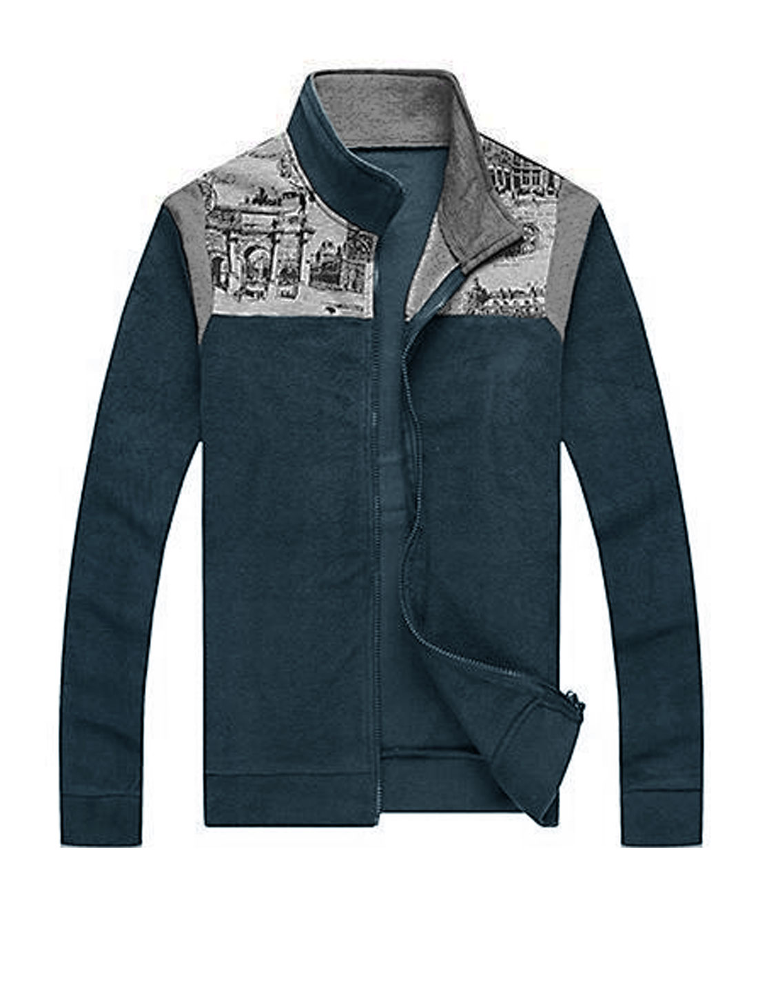 Stylish Long Sleeve Zip Closed Navy Blue Casual Jacket for Man L