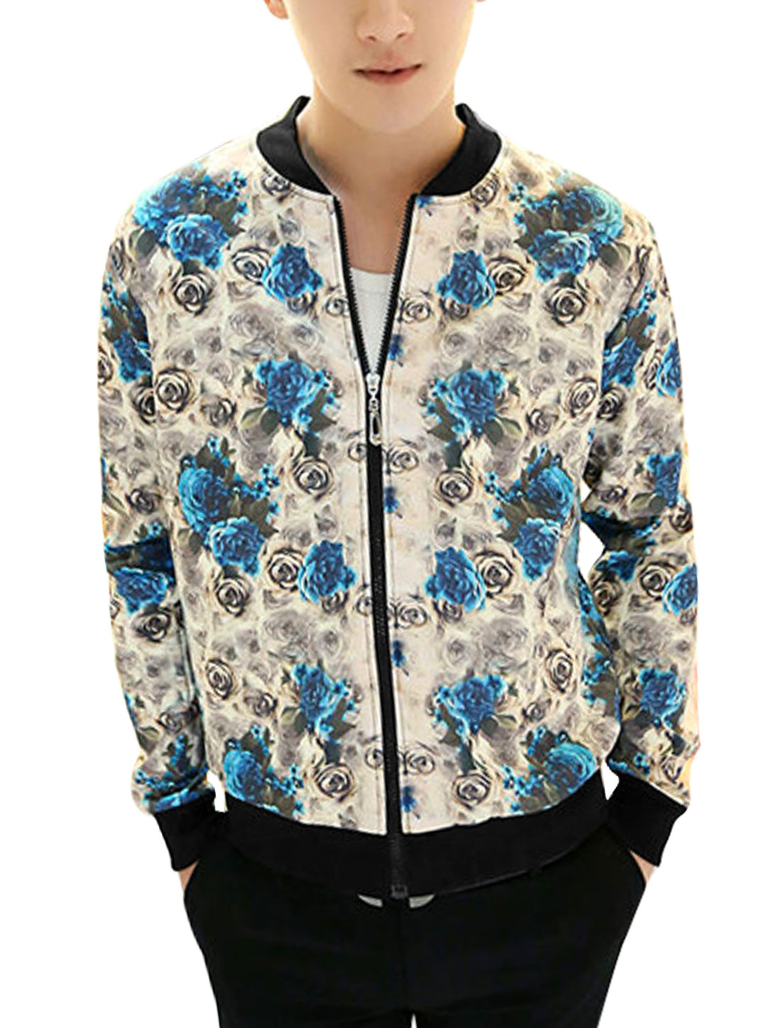 Men Floral Pattern Stand Collar Zip Fly Casual Baseball Jacket Turquoise Beige M