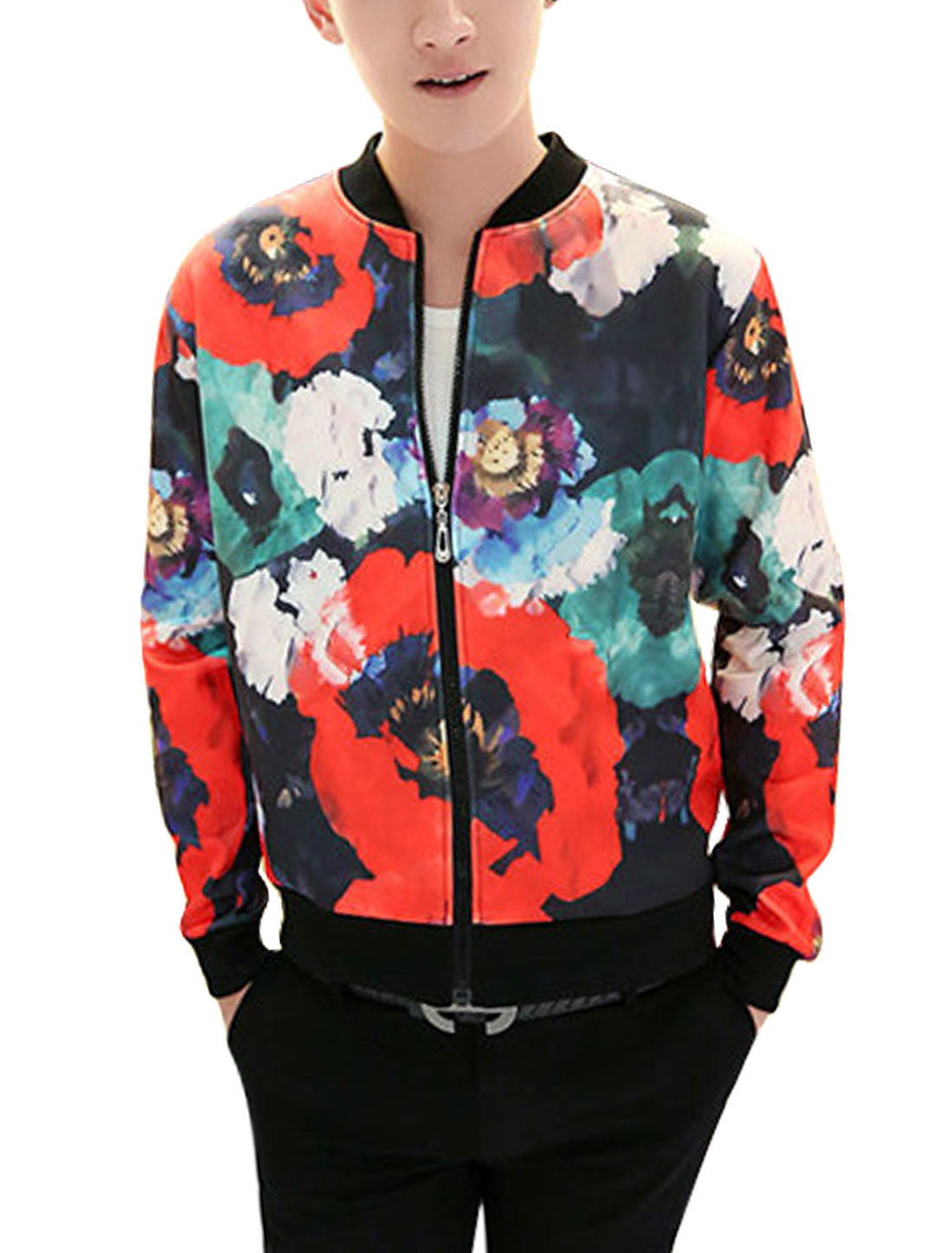 New Style Floral Pattern Zip Up Casual Baseball Jacket for Men Multicolor M