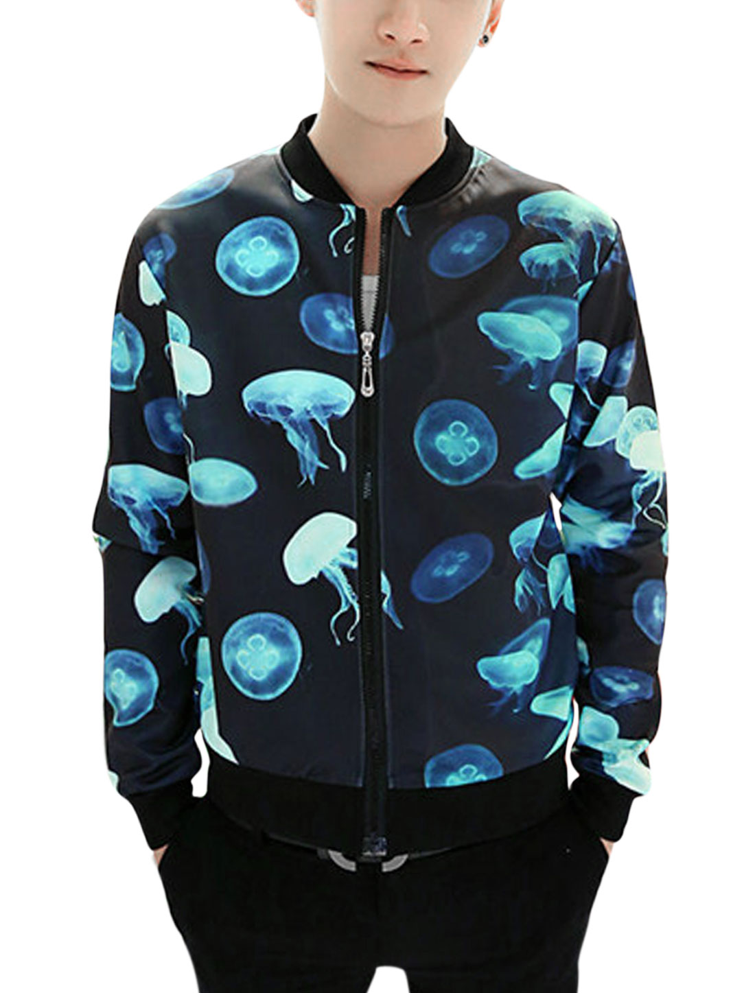 Men Stand Collar Long Sleeve Zip Stylish Jacket Black Turquoise M