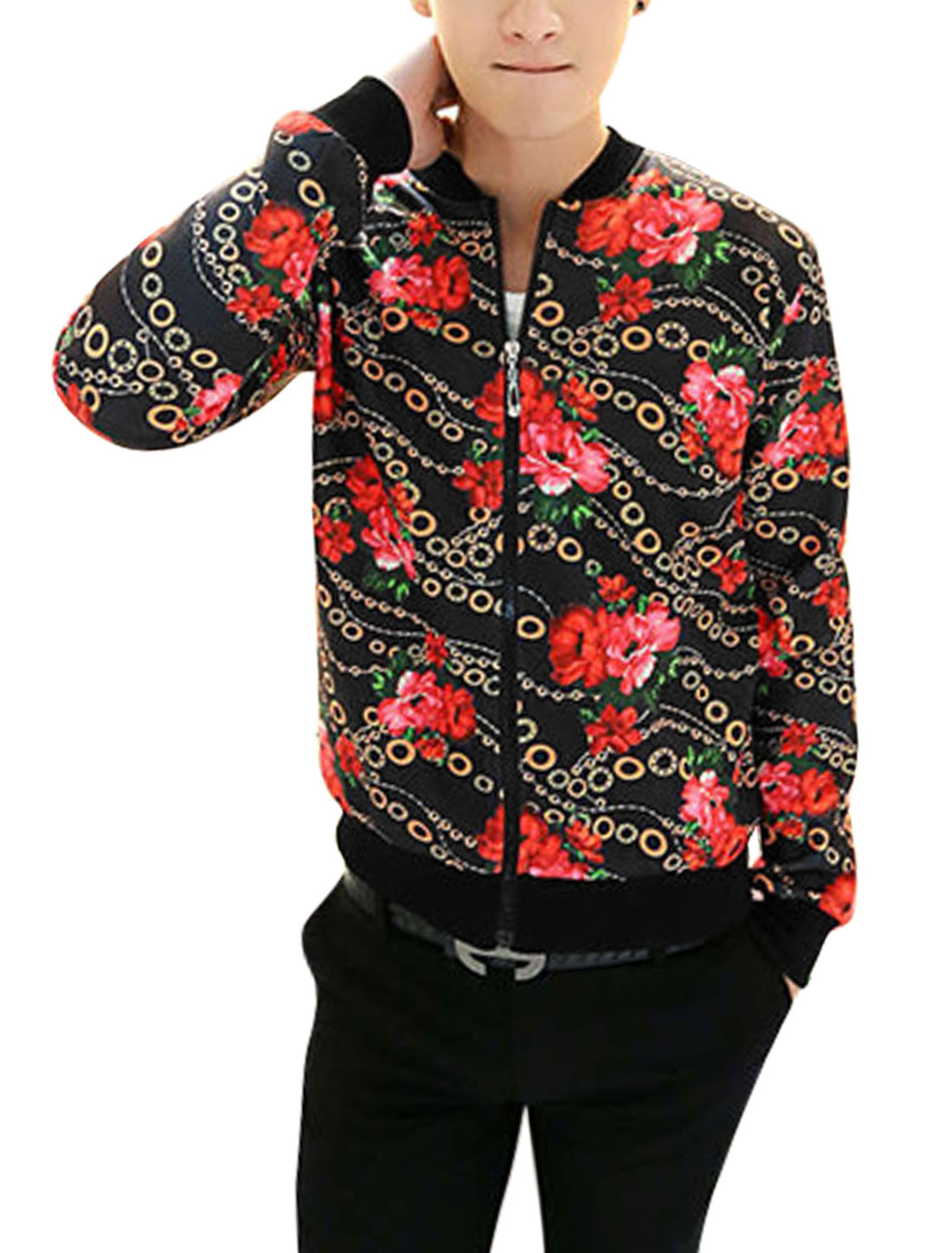 Men Stand Collar Long Sleeve Floral Prints Fashion Jacket Black Red M