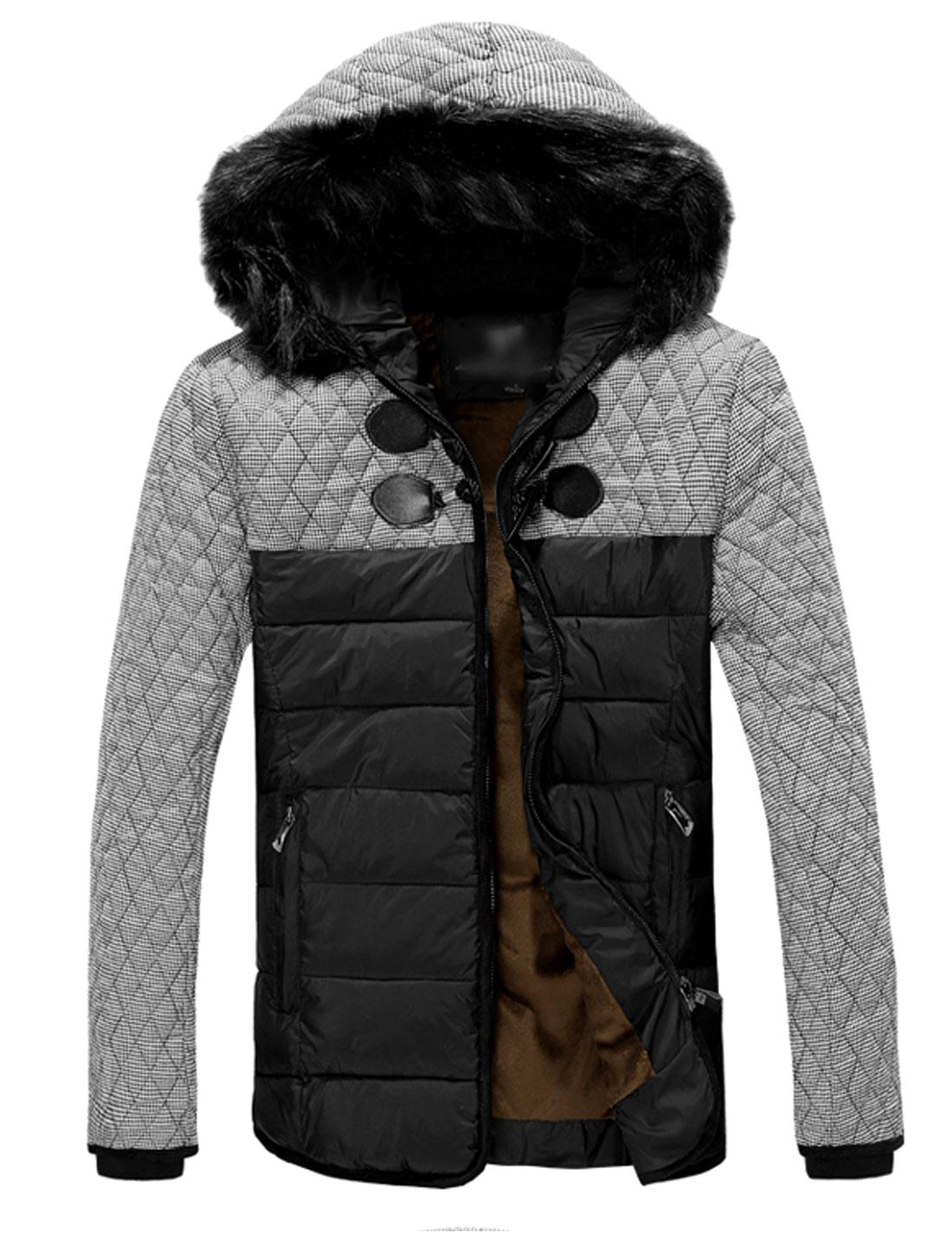 Men Panel Design Zip Closed Front Hooded Padded Coat Black M