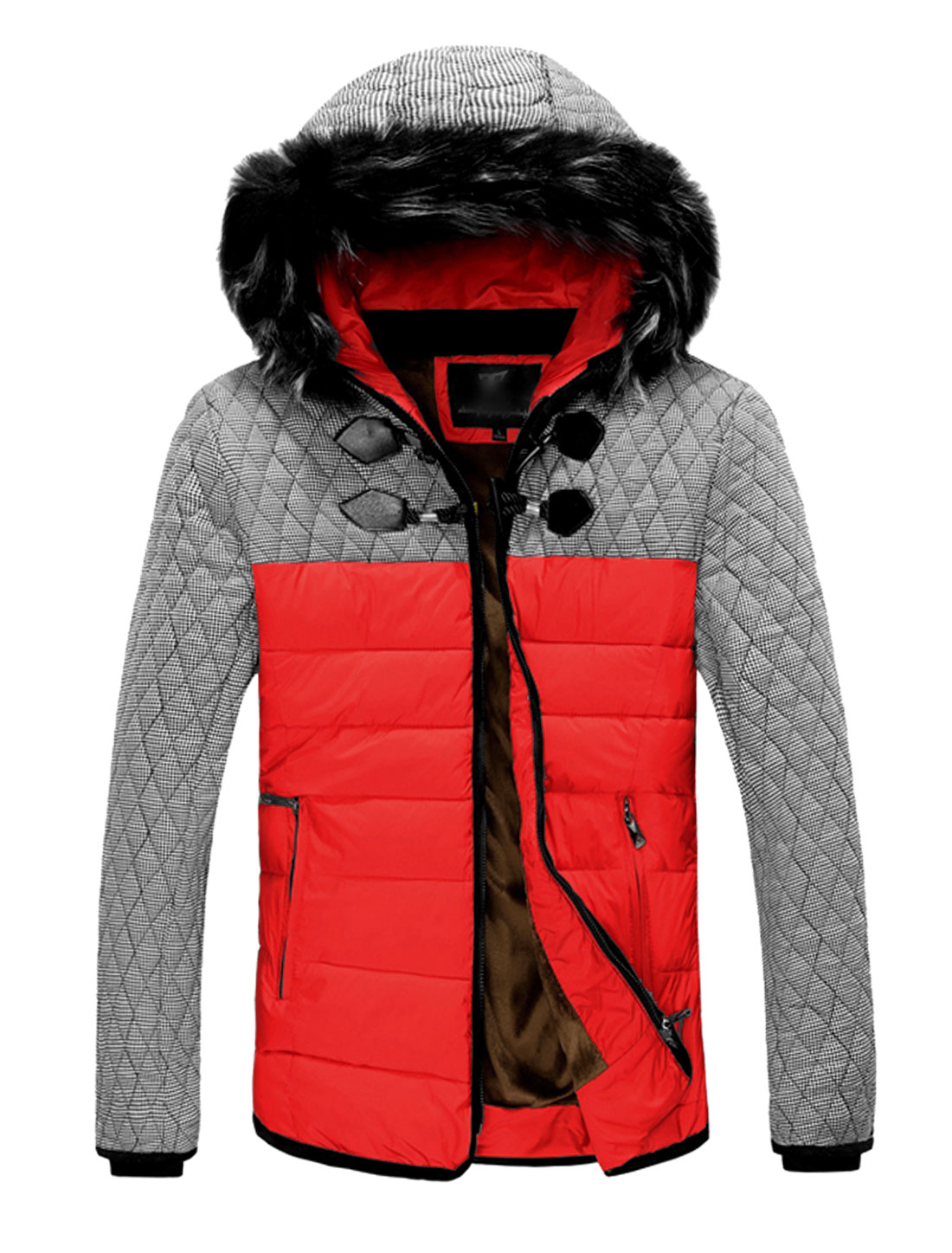 Man Horn Button Detail Long Sleeves Casual Red Hooded Padded Coat M