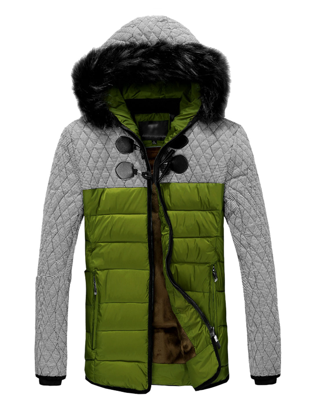 Double Pocket Ribbed Cuffs Zip Up Olive Hooded Padded Coat for Man M