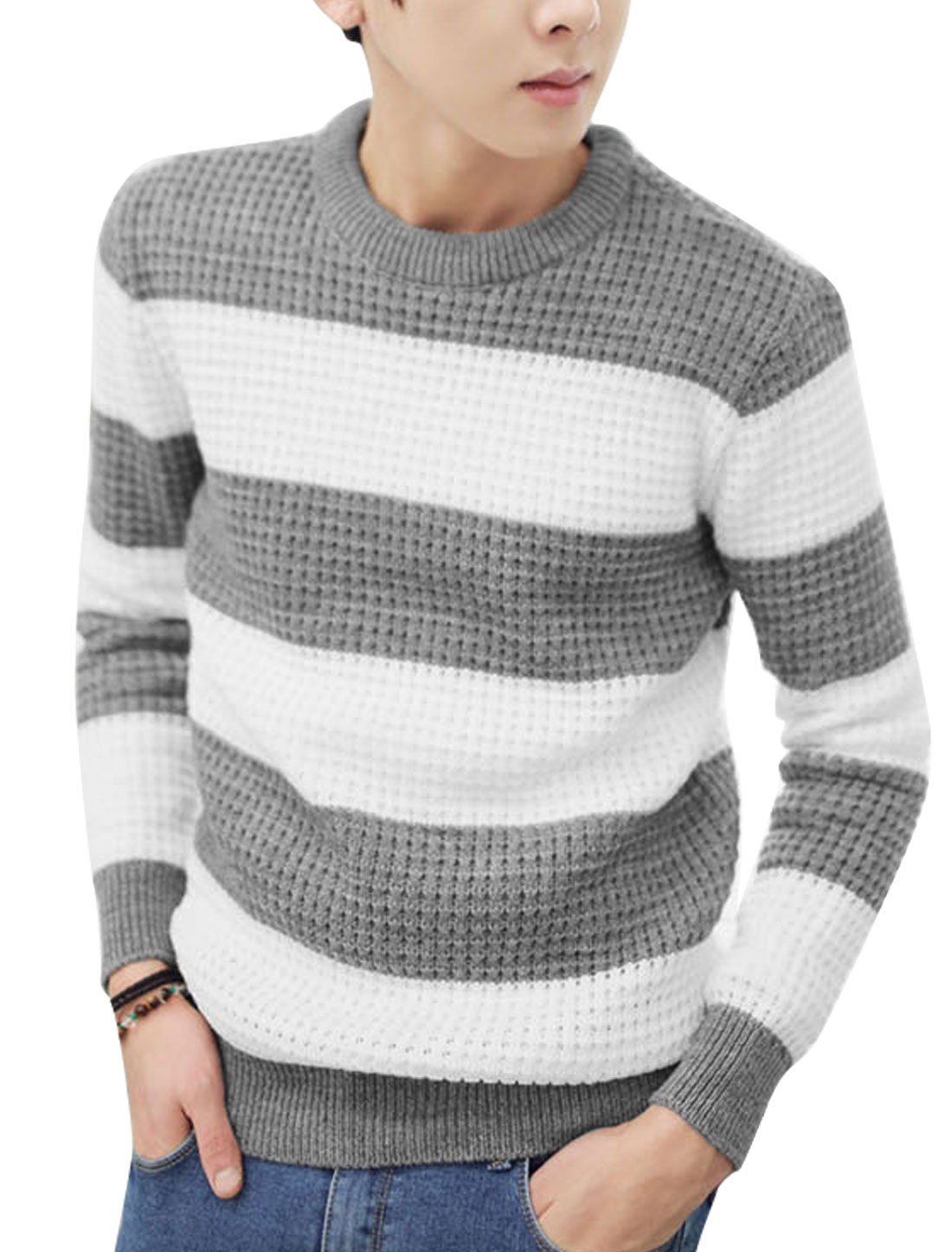 Men Stripes Round Neck Long Sleeves Color Block Sweater Light Gray White M