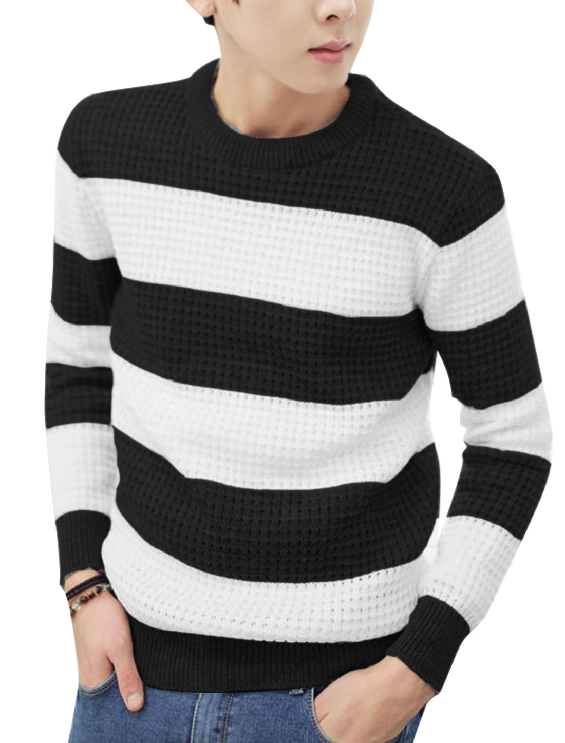 Stripes Pullover Long Sleeves Casual Black White Sweater for Man M