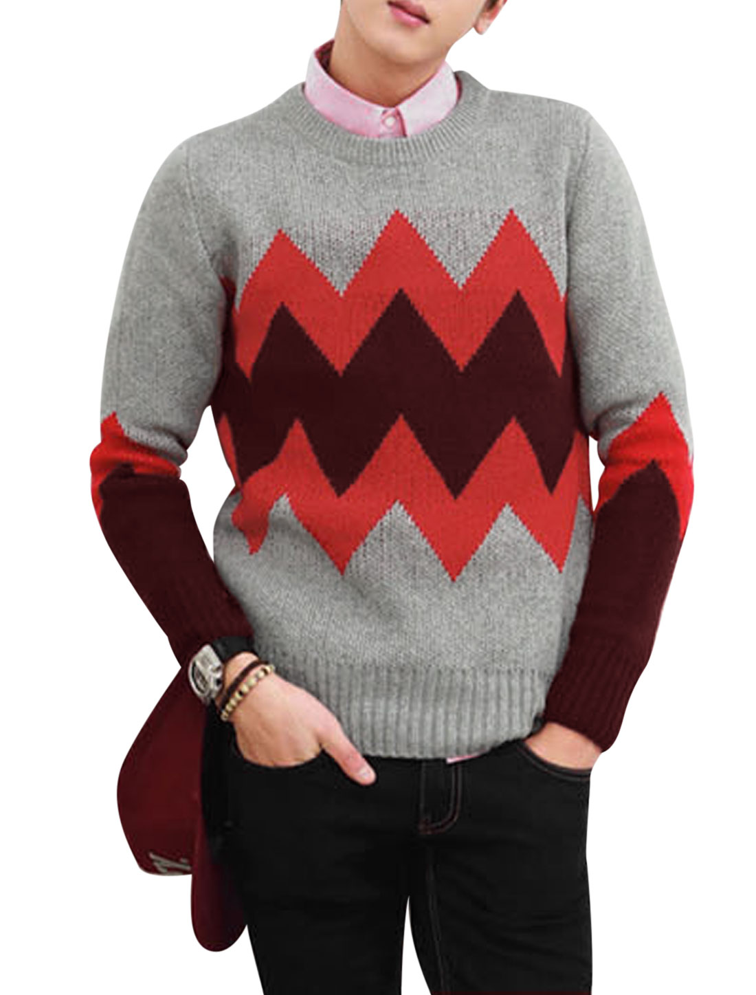 Men Crew Neck Zig-zag Pattern Color Block Casual Sweater Light Gray M