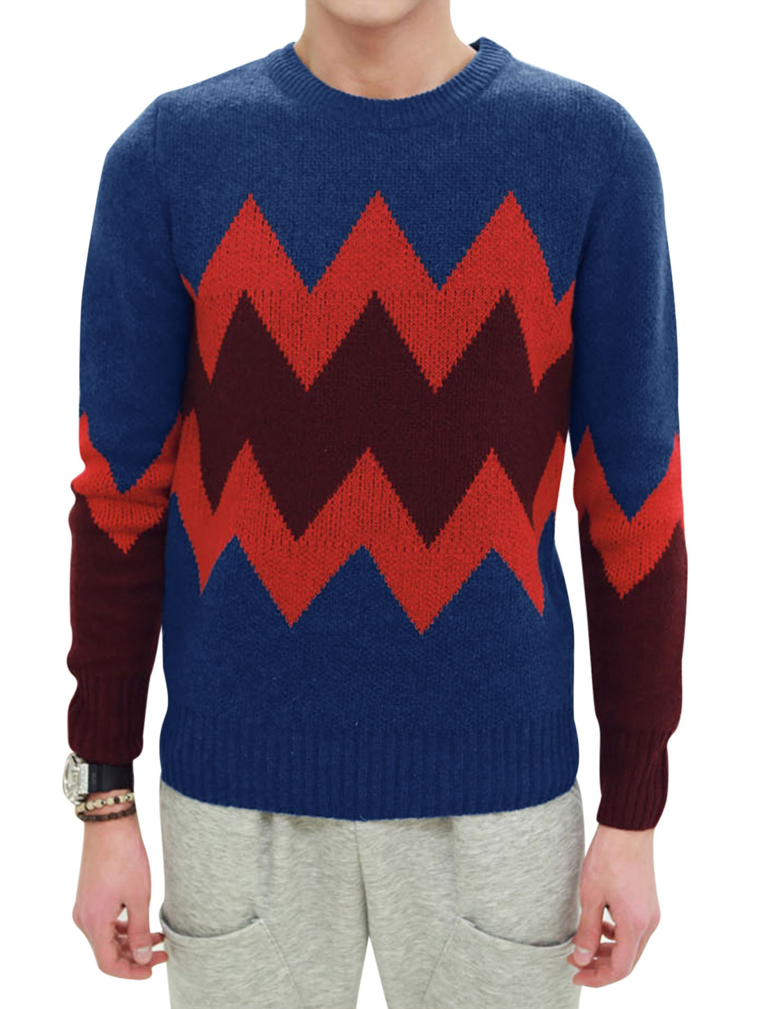 Zig-zag Pattern Long Sleeves Pullover Blue Sweater for Men M