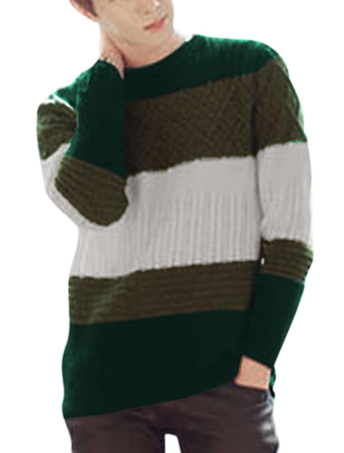 Men Color Block Crew Neck Long Sleeve Casual Sweater Multicolor S