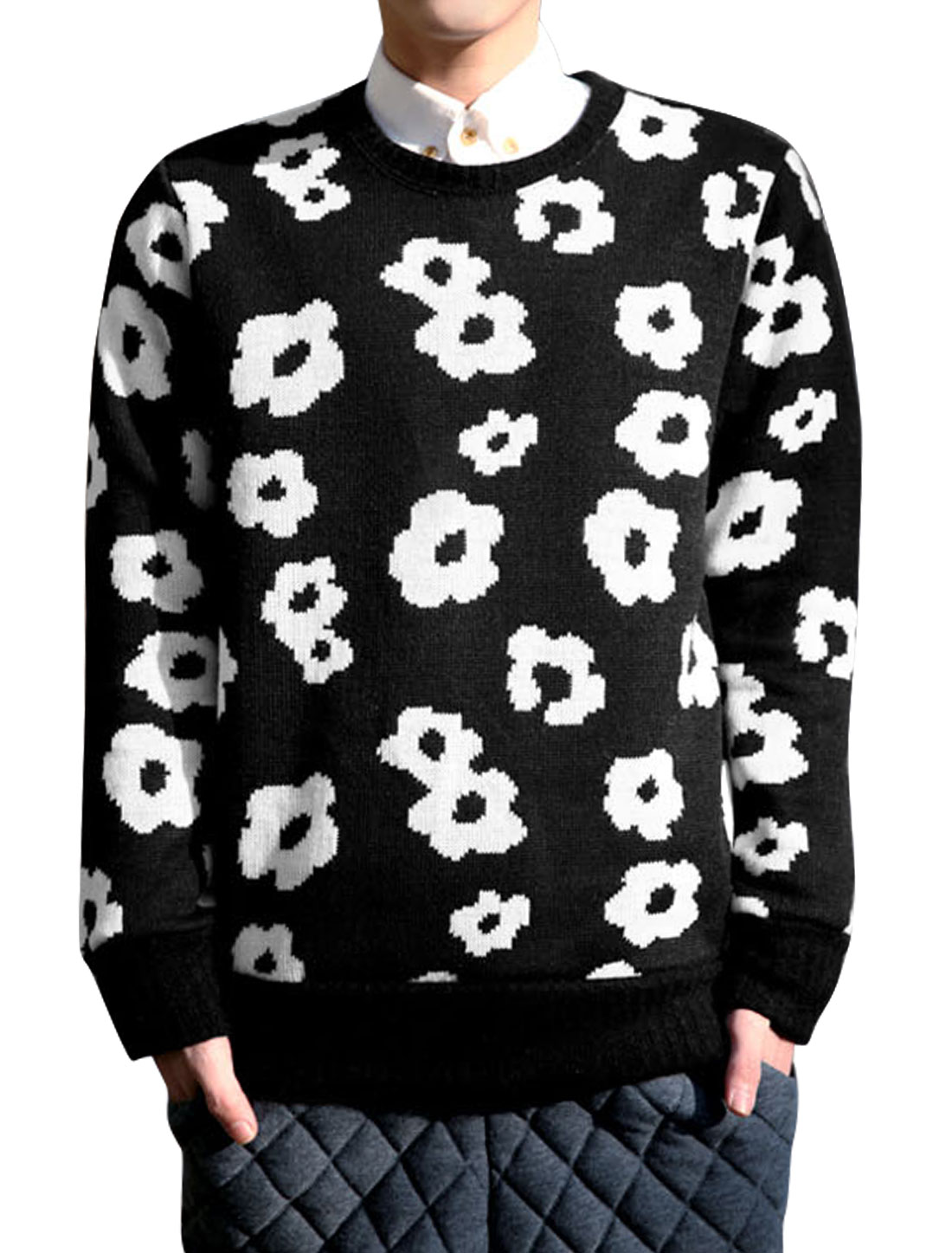 Men Flower Pattern Crew Neck Long Sleeves Casual Sweater Black S