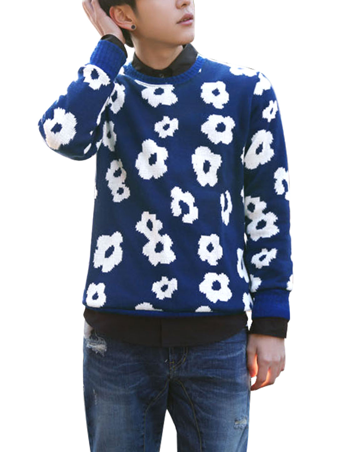 Man Allover Flower Prints Pullover Slim Fit Blue Sweater S