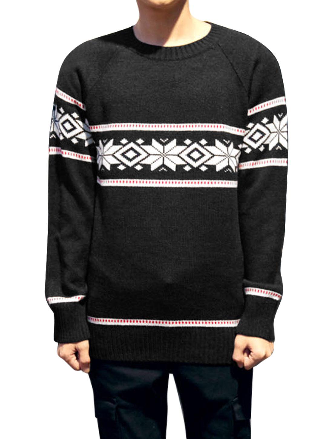 Men Geometric Pattern Raglan Sleeve Ribbed Hem Casual Knit Shirt Black S
