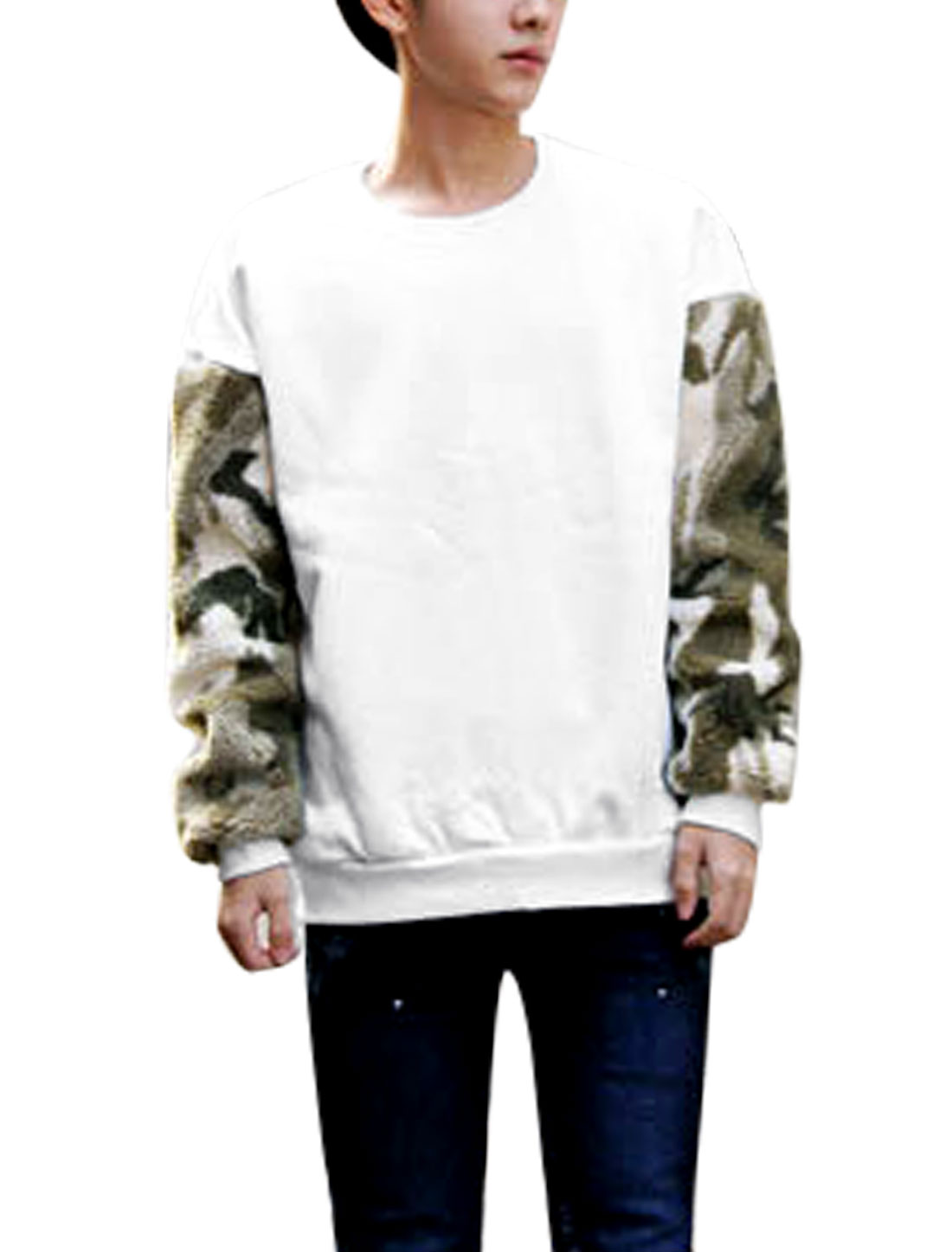 Men Long Sleeve Spliced Camouflage Detail Sweatshirt White M