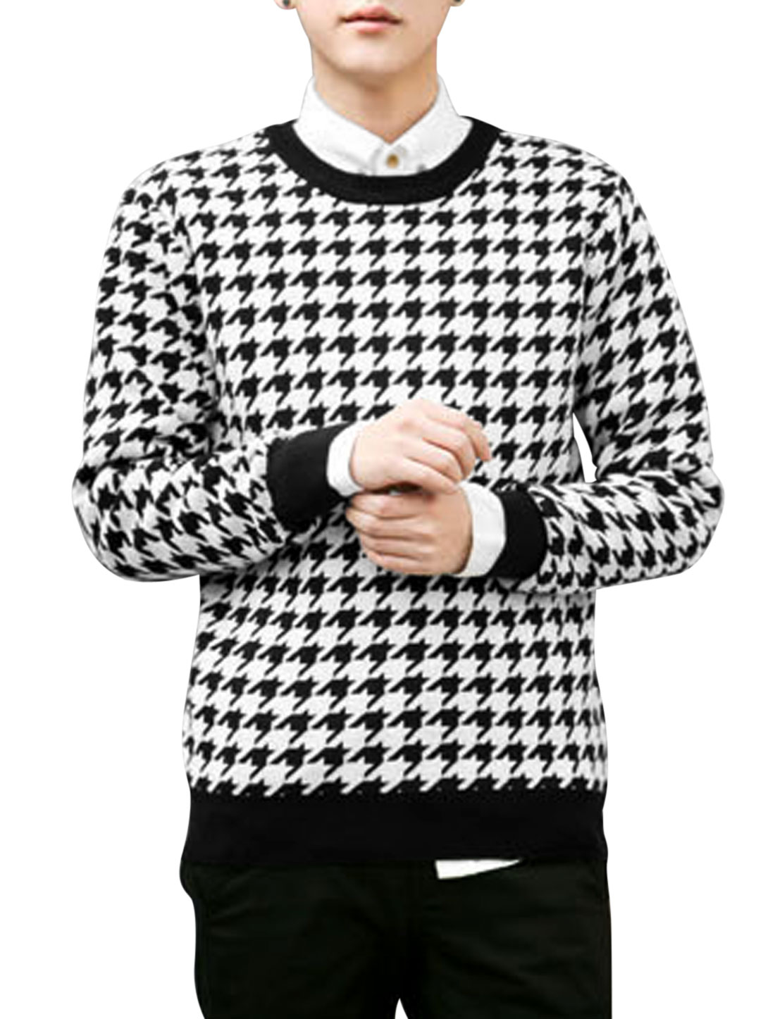 Men Black White Long Sleeves Round Neck Pullover Casual Sweatshirt S