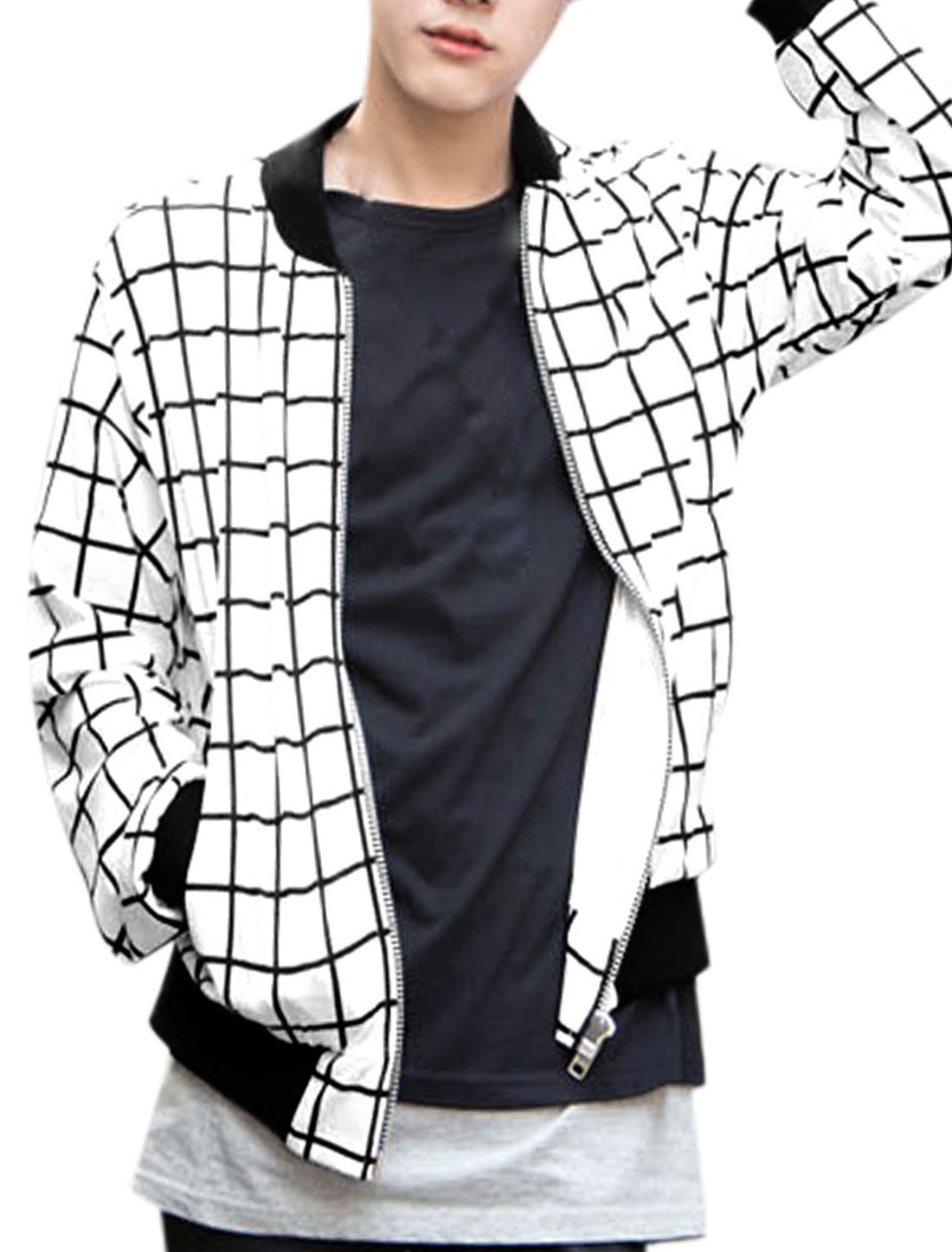 Men White Long Sleeves Stand Collar Zippered Front Plaids Pattern Jacket M