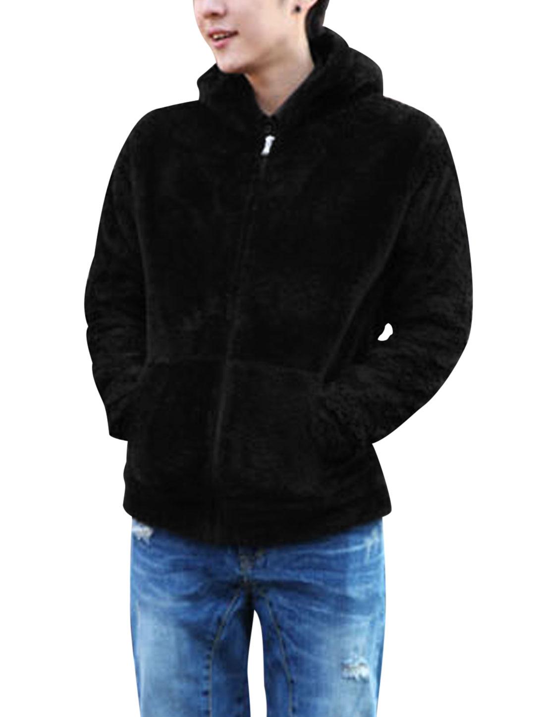 Men Long Sleeve Zip Closure Leisure Fleece Jacket Black S
