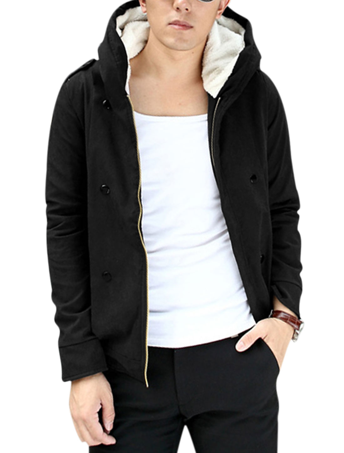 Men Zip Closed Long Sleeves Plush Lined Hooded Heavy Jacket Black S