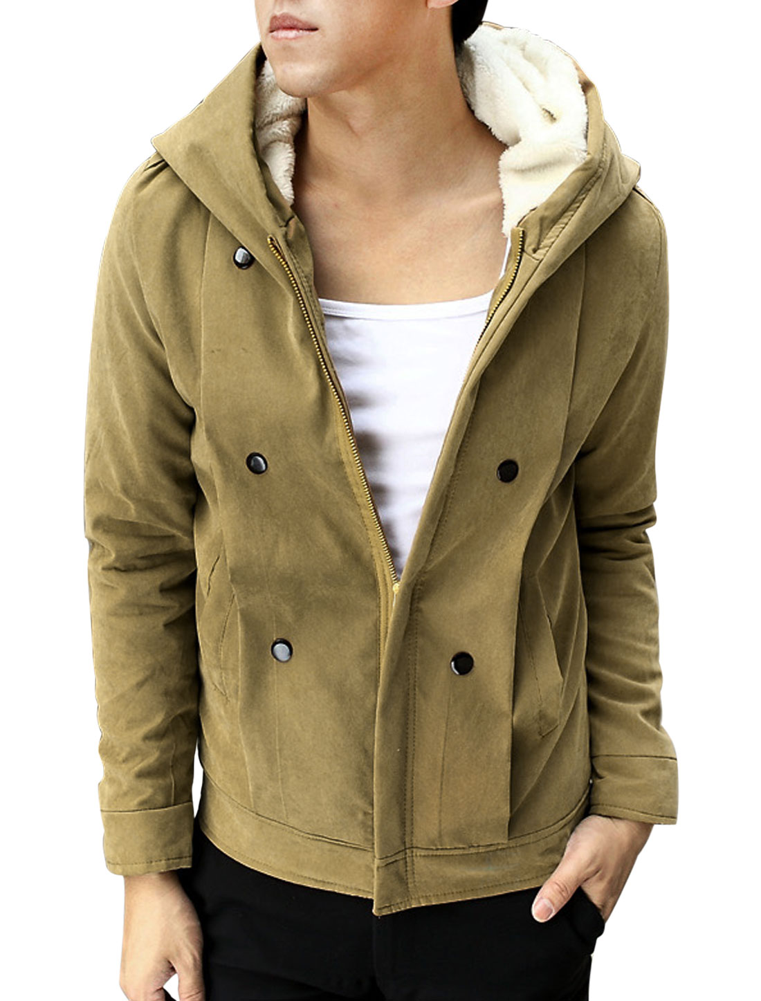 Plush Lining Design Zip Closure Khaki Hooded Heavy Jacket for Man S