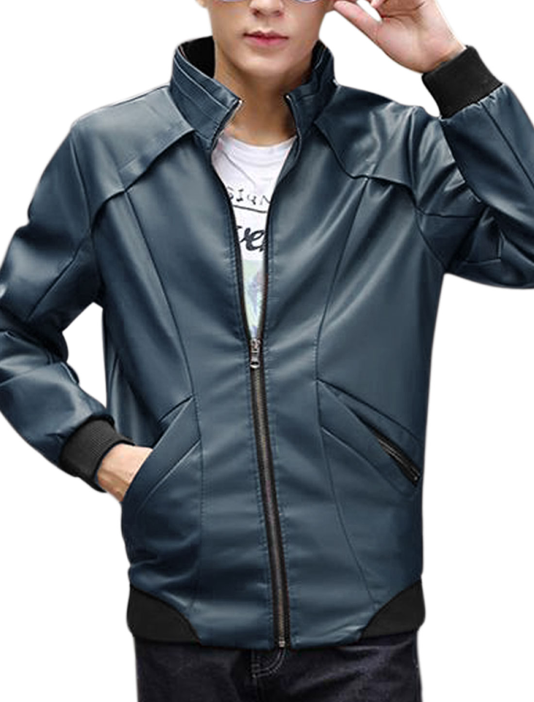 Men Stand Collar Long Sleeve Zip Up Imitation Leather Jacket Navy Blue M
