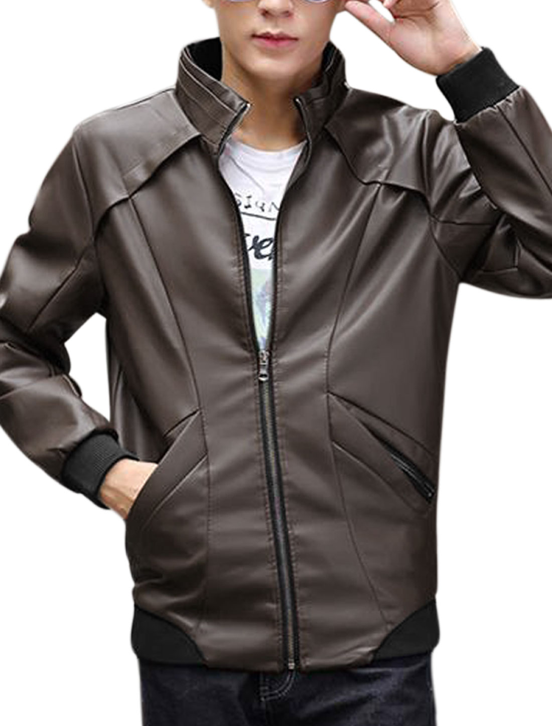 Two Zip-up Pocket Long Sleeves Coffee Imitation Jacket for Man M