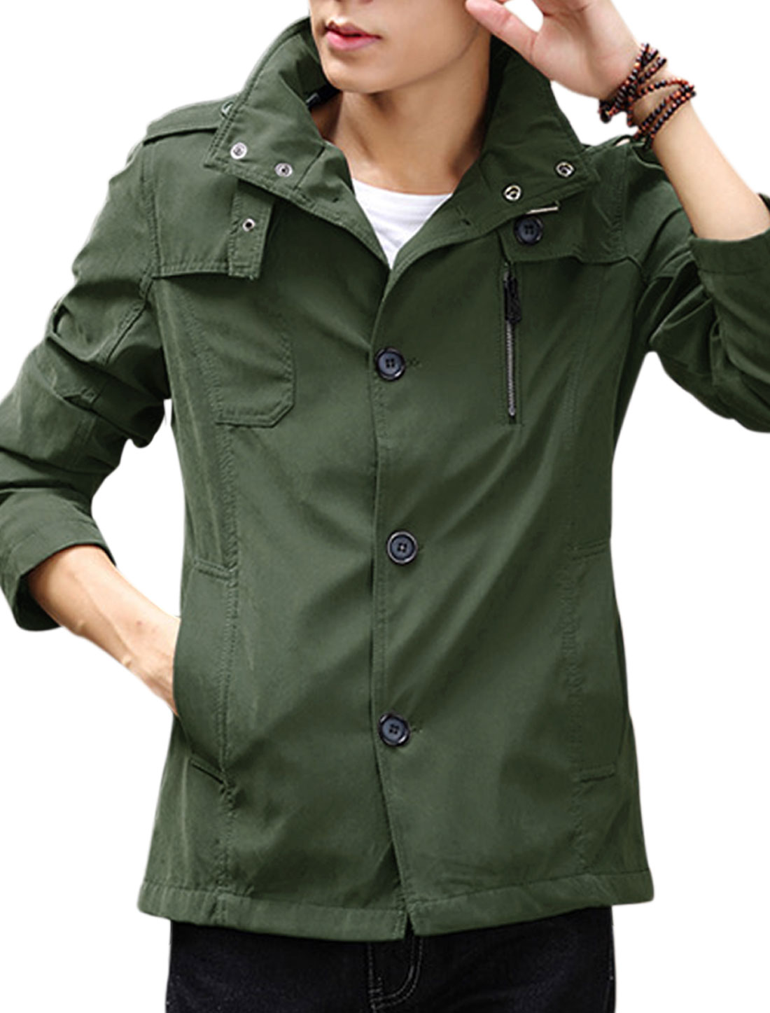 Men Convertible Collar Long Sleeves Button Down Windbreaker Army Green S