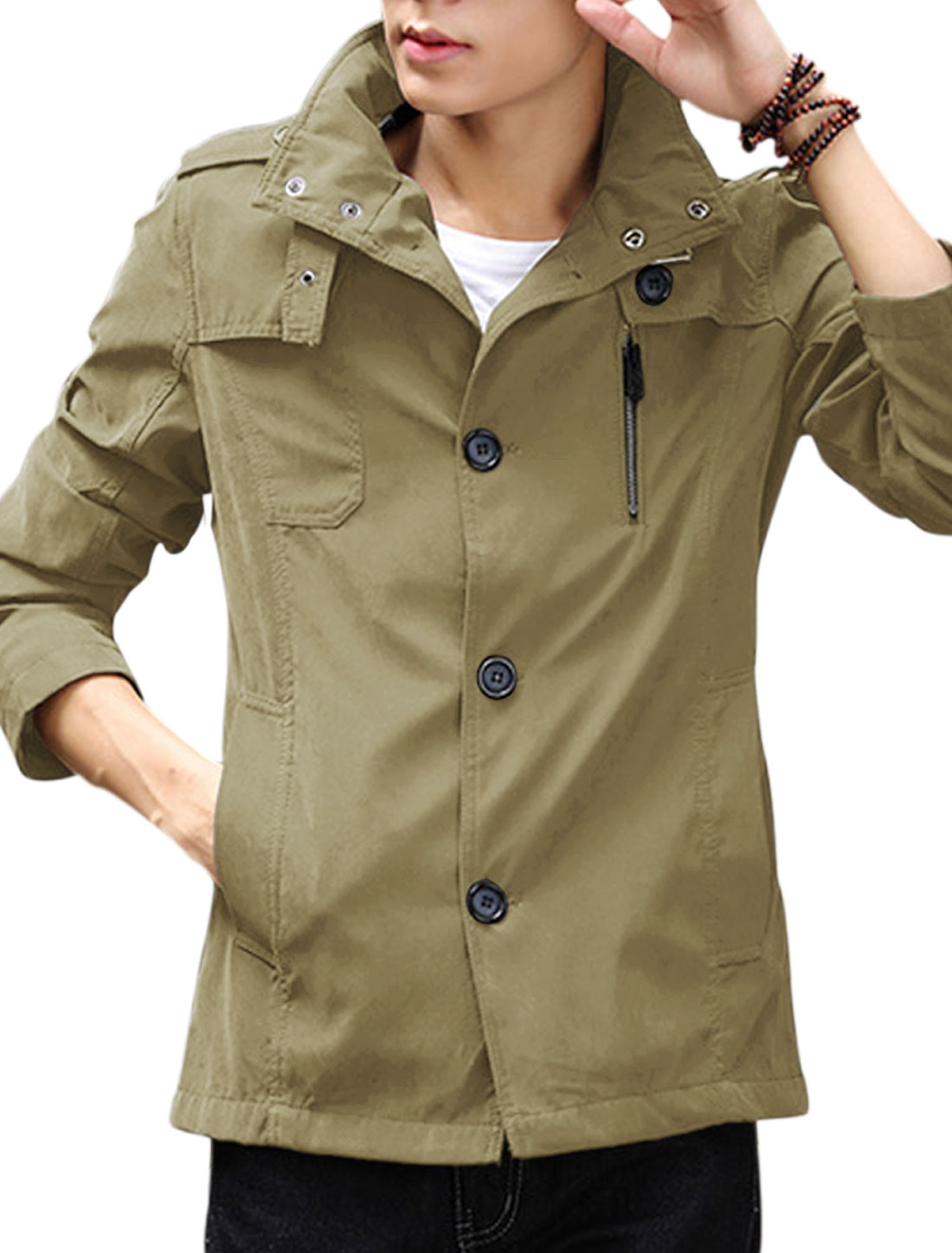 Man Gun-flap Design Button Closed Khaki Light Winsbreaker S