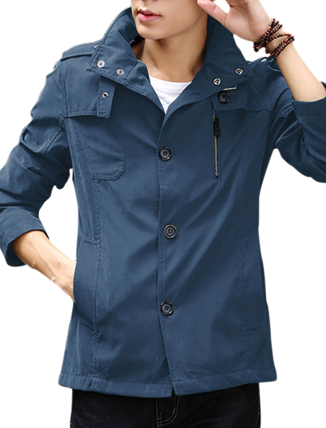 Button-tab Collar Long Sleeves Navy Blue Windbreaker for Man S