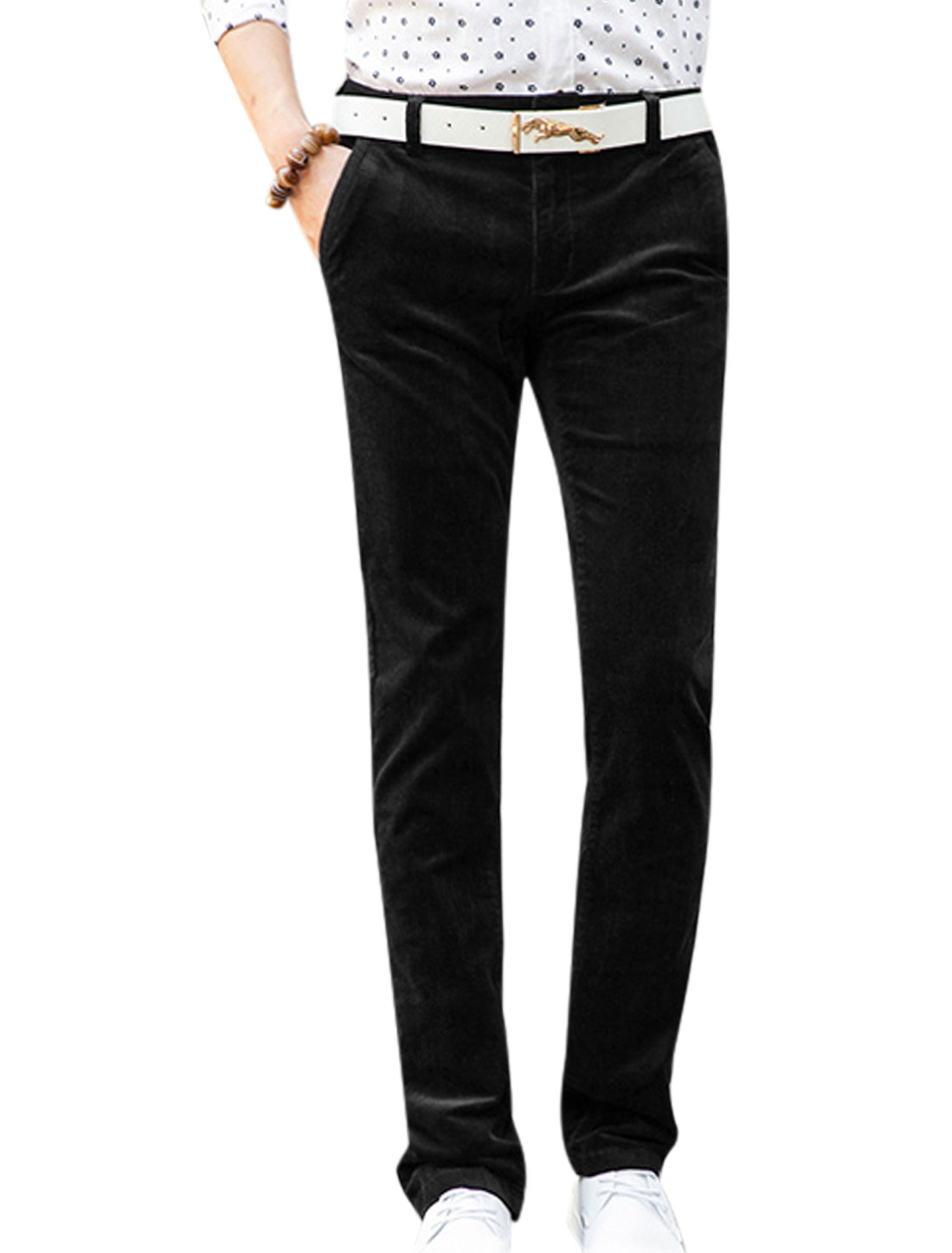 Man Zip Fly Button Closed Pocket Sides Corduroy Pants Black W32