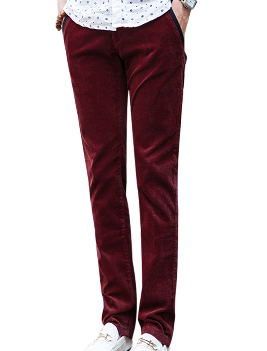 Man Natural Waist Design Button Closed Burgundy Corduroy Pants W32