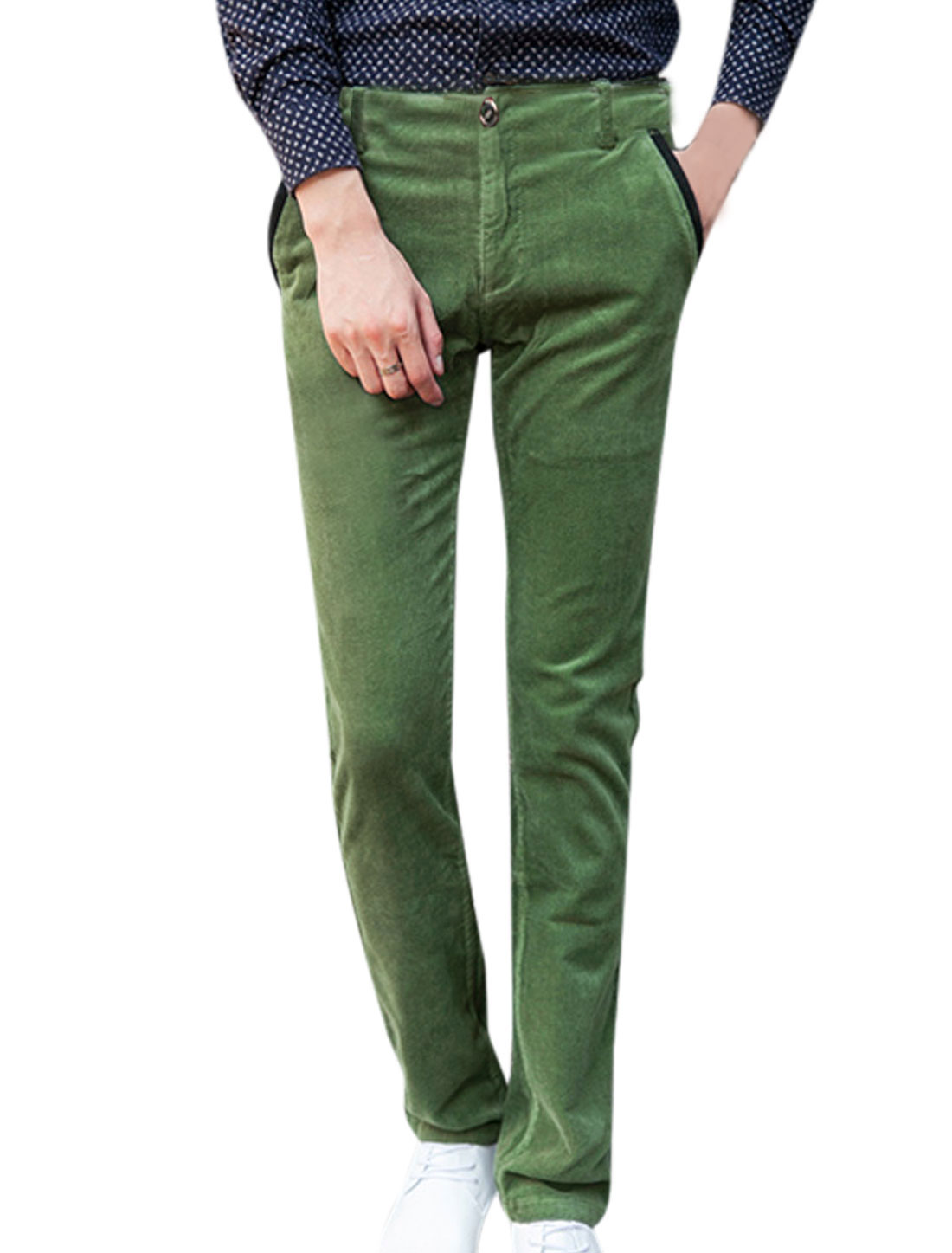 Fashion Zip Up Belt Loop Design Dark Green Corduroy Pants for Man W32