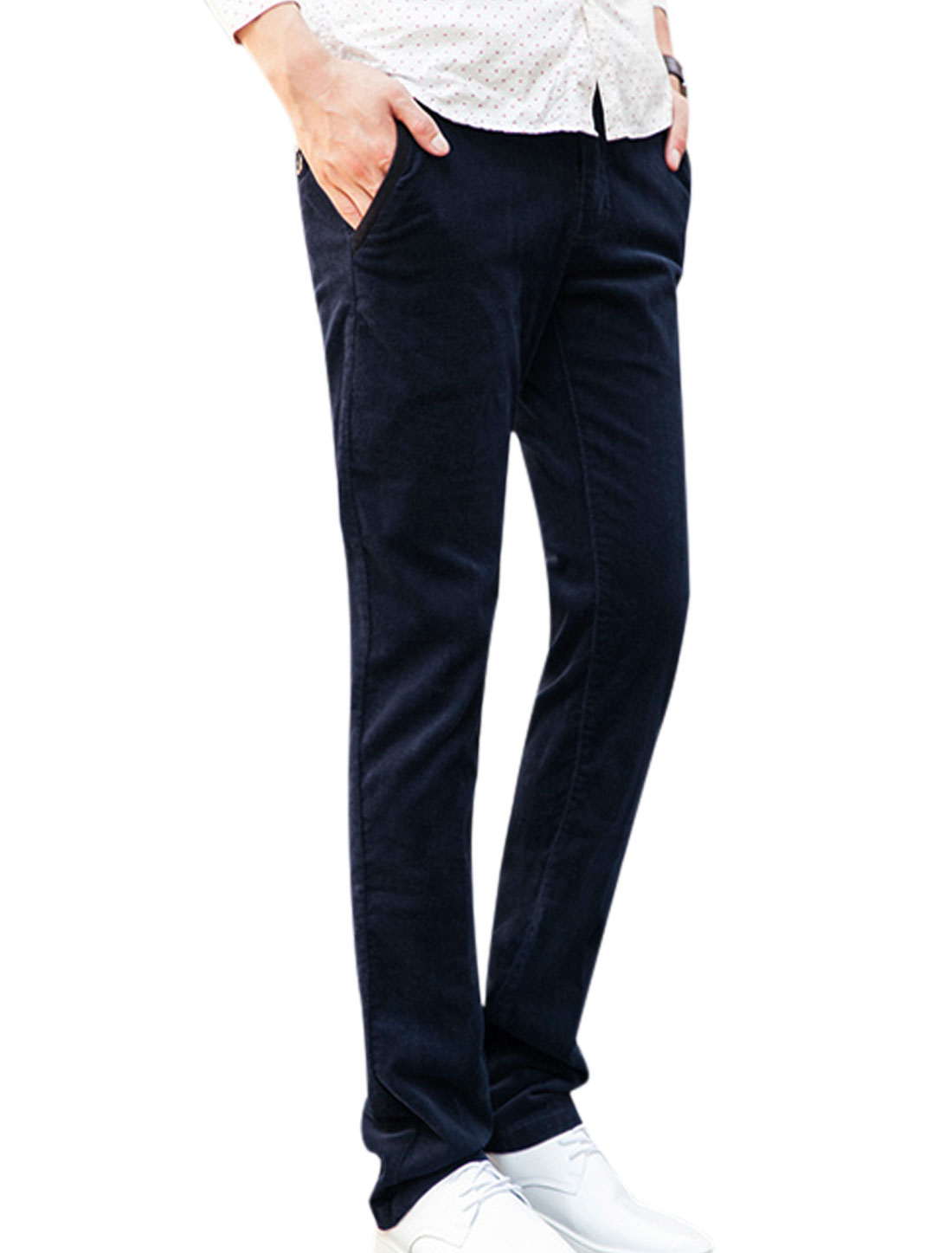 Leisure Zip Up Button Closed Navy Blue Corduroy Pants for Men W32