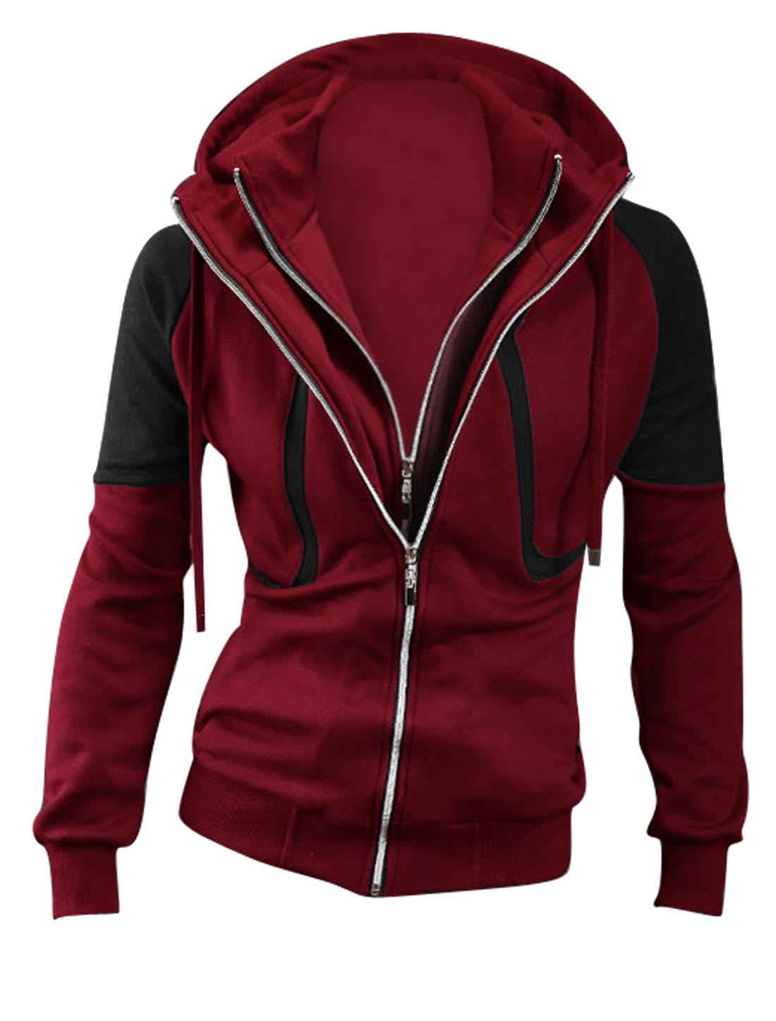 Men Contrast Color Layered Designs Long Sleeve Casual Hooded Jacket Burgundy Black M