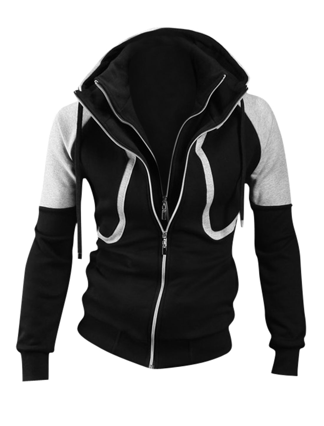 Men Double Pockets Front Long Sleeve Casual Hooded Jacket Black Light Gray M