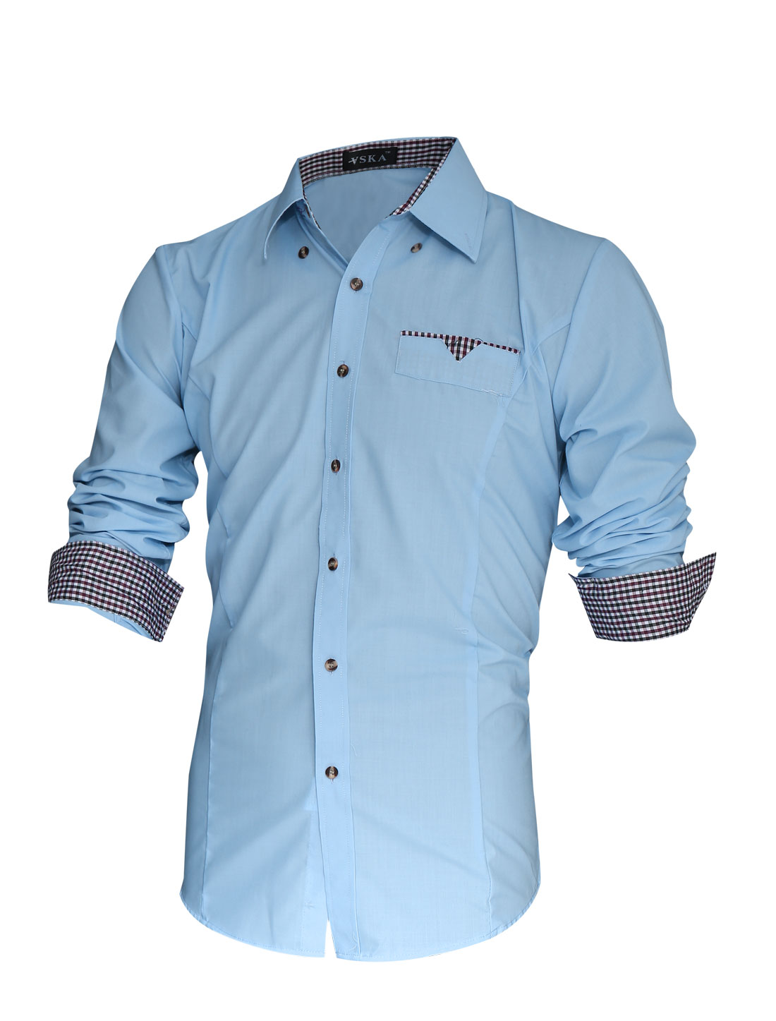 Men Contrast Plaids Detail Button-Front Slim Cut Button Down Shirt Light Blue M