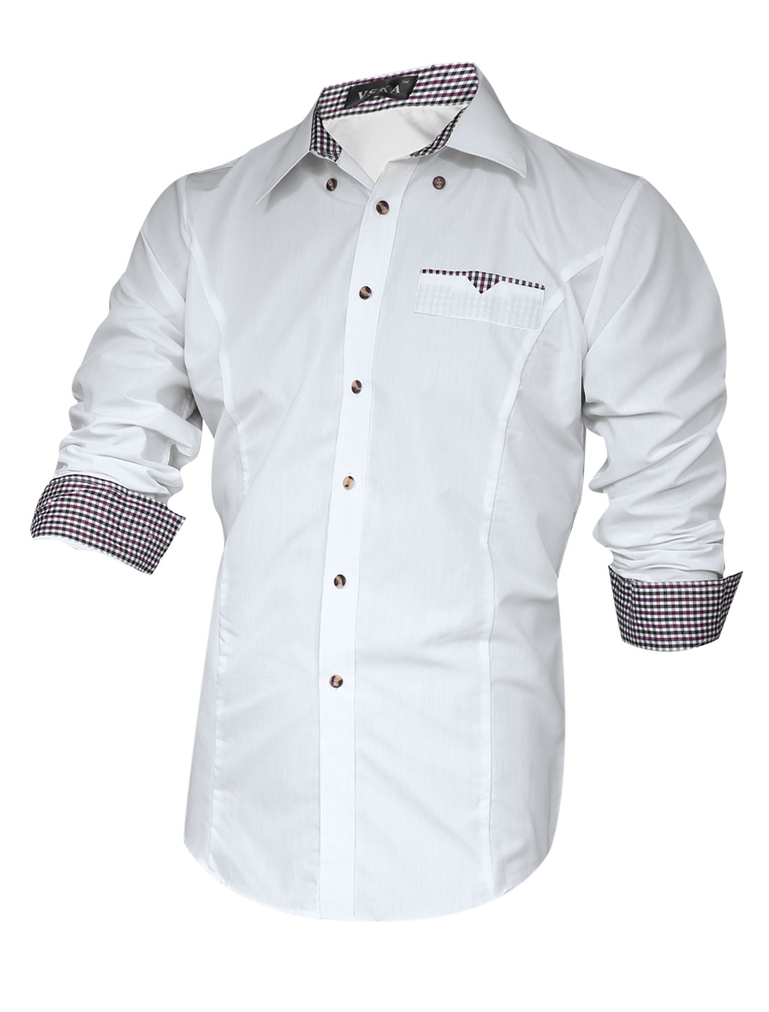 Men Contrast Plaids Detail Panel Slim Cut Button Down Shirt White M