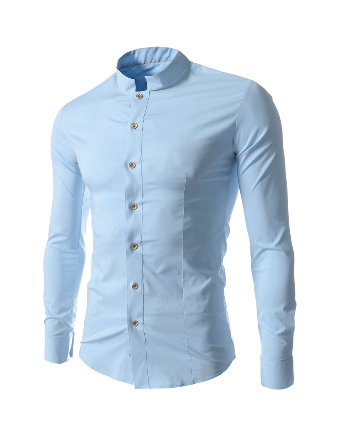 Men Stand Collar Long Sleeves Single Breasted Chic Shirt Sky Blue M