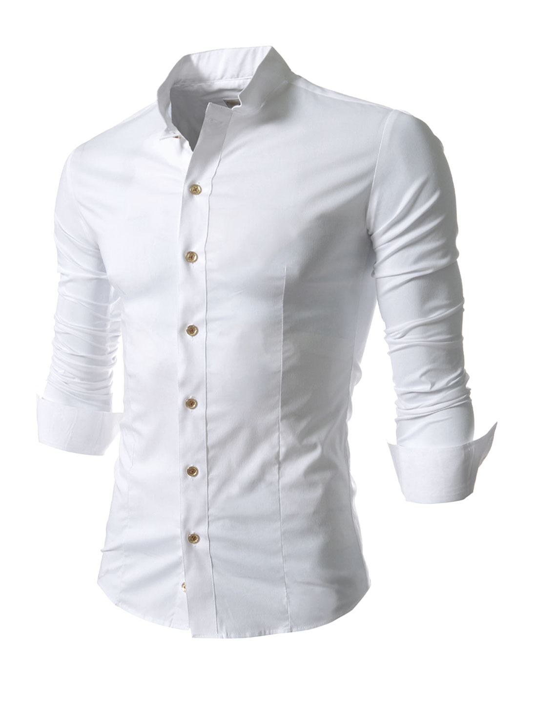 Man Button Cuffs Single Breasted Leisure Design White Shirt M