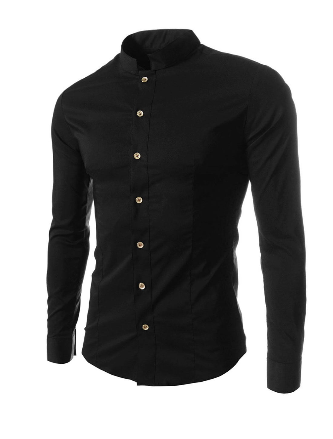 Cozy Fit Stylish Button Down Stand Collar Black Shirt for Man M