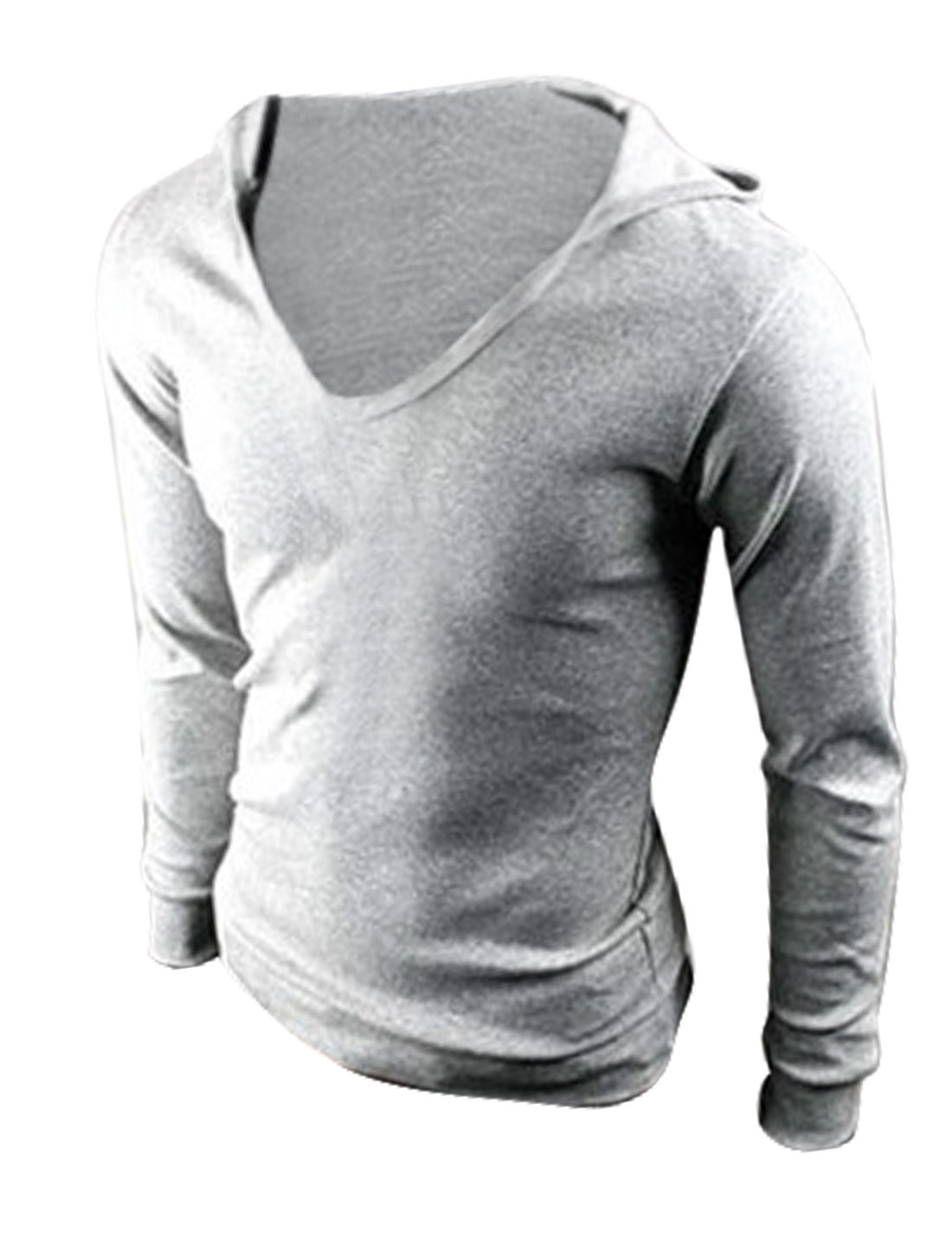 Leisure Long Sleeves V Neckline Light Gray Hooded Shirt for Man M