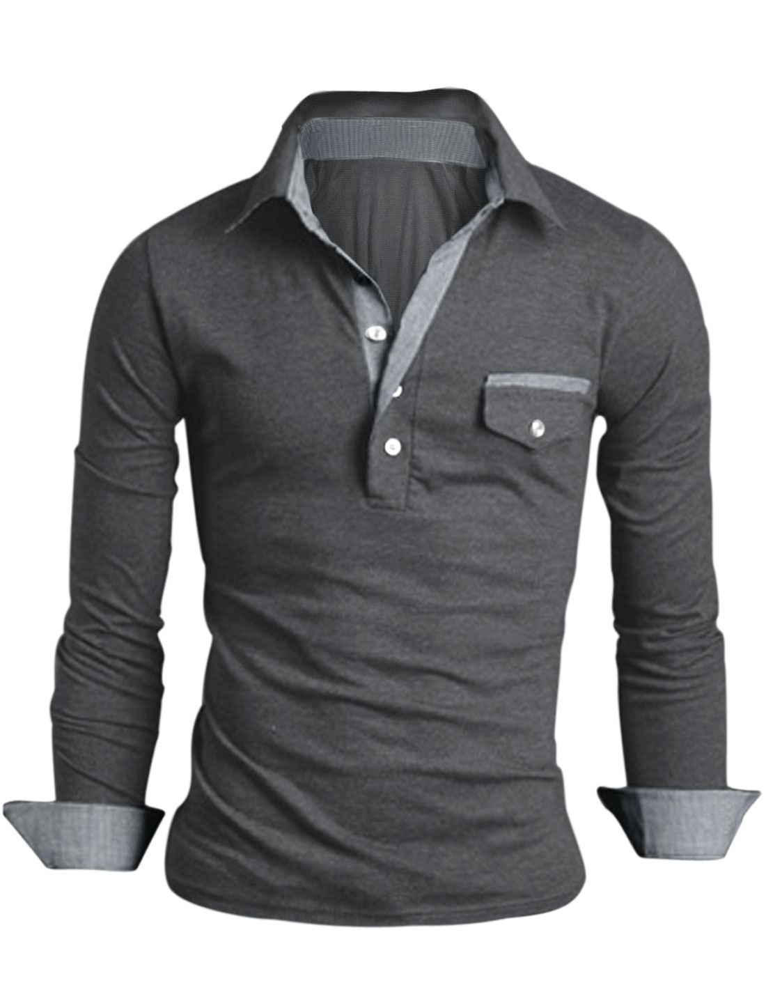 Men Plaids Detail Panel Contrast Point Collar Polo Shirt Dark Gray M