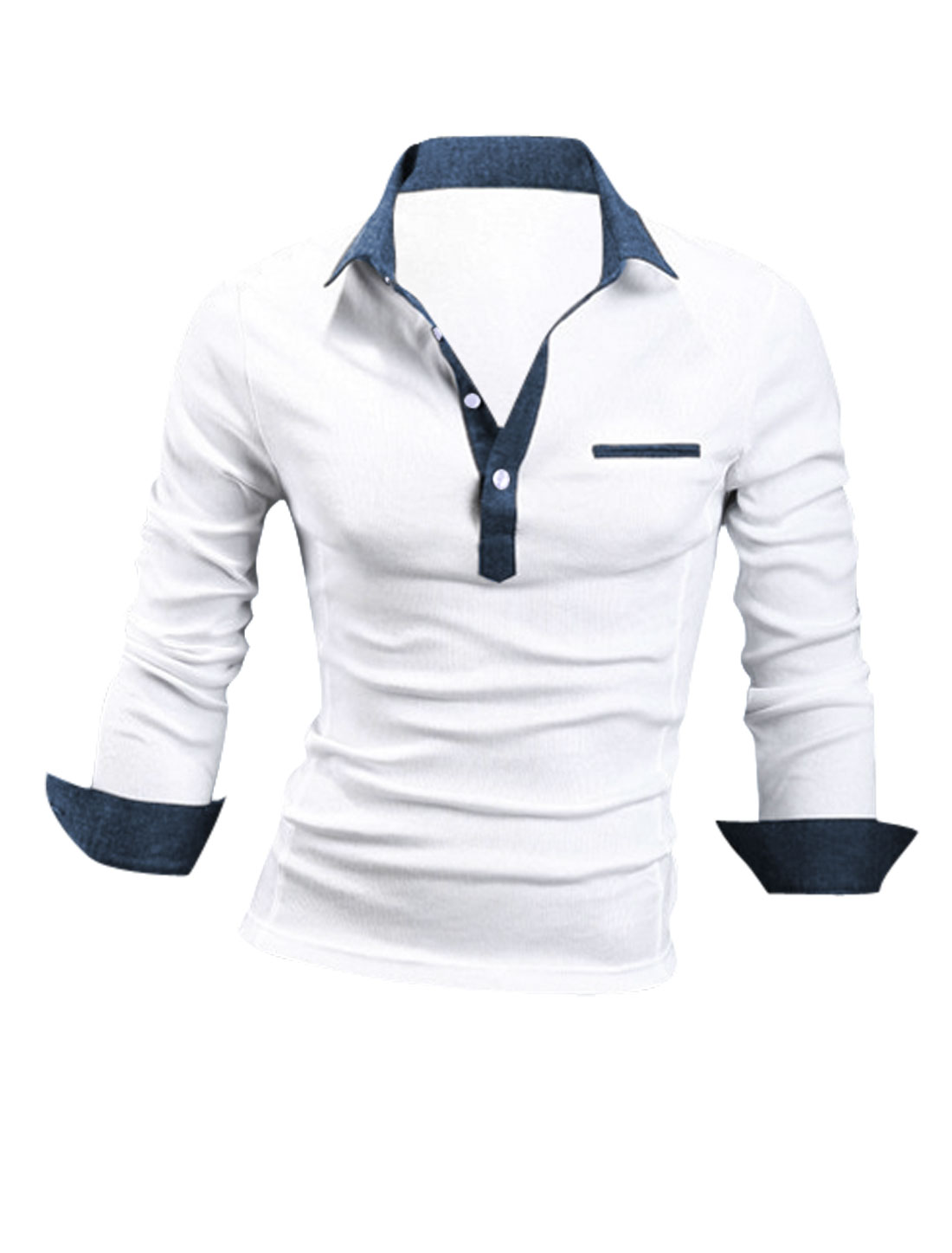 Man Slim Fit Constrast Collar Button Up Cozy Fit Polo Shirt White M