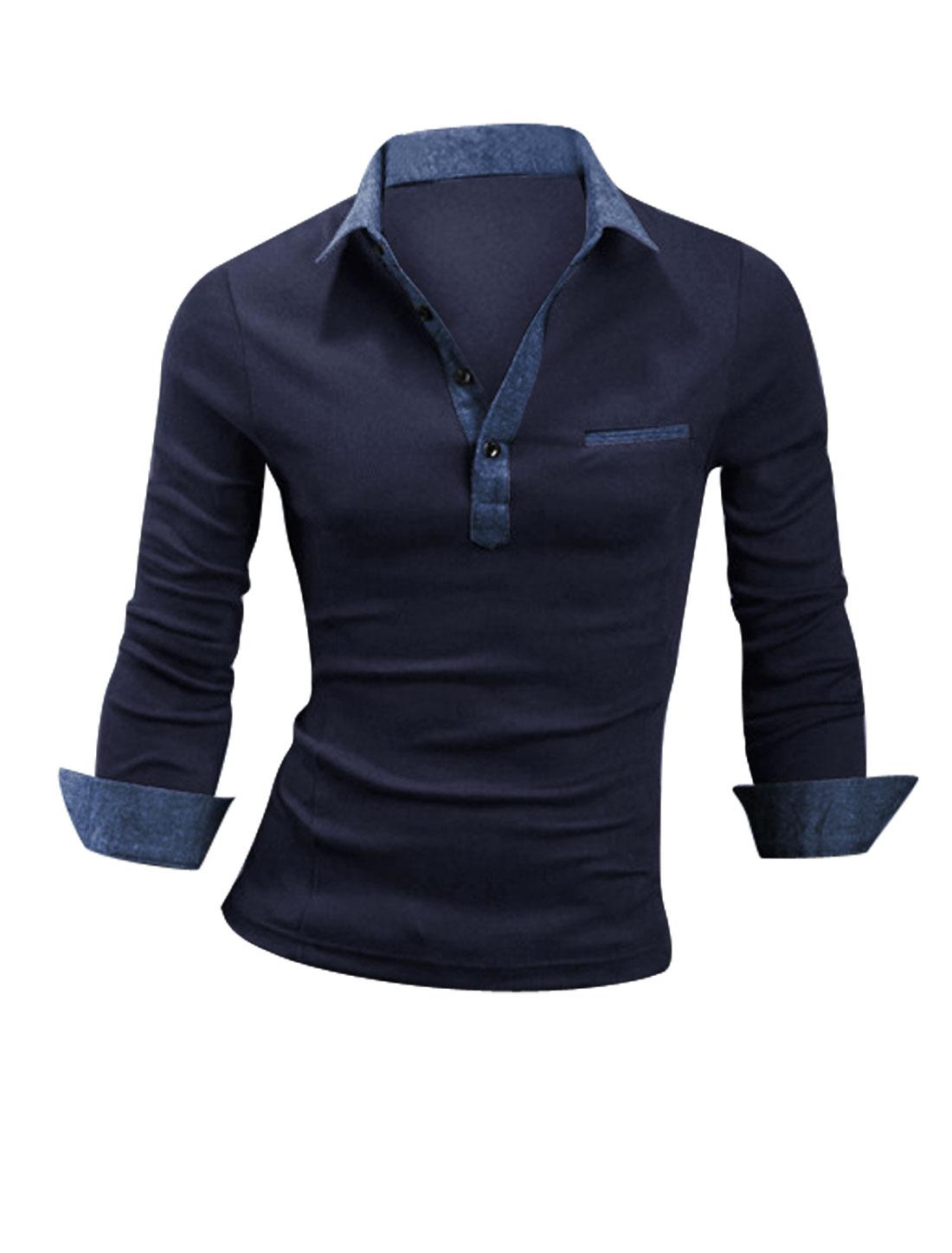 Man Long Sleeve Mock Chest Pocket Button Cuffs Polo Shirt Navy Blue M