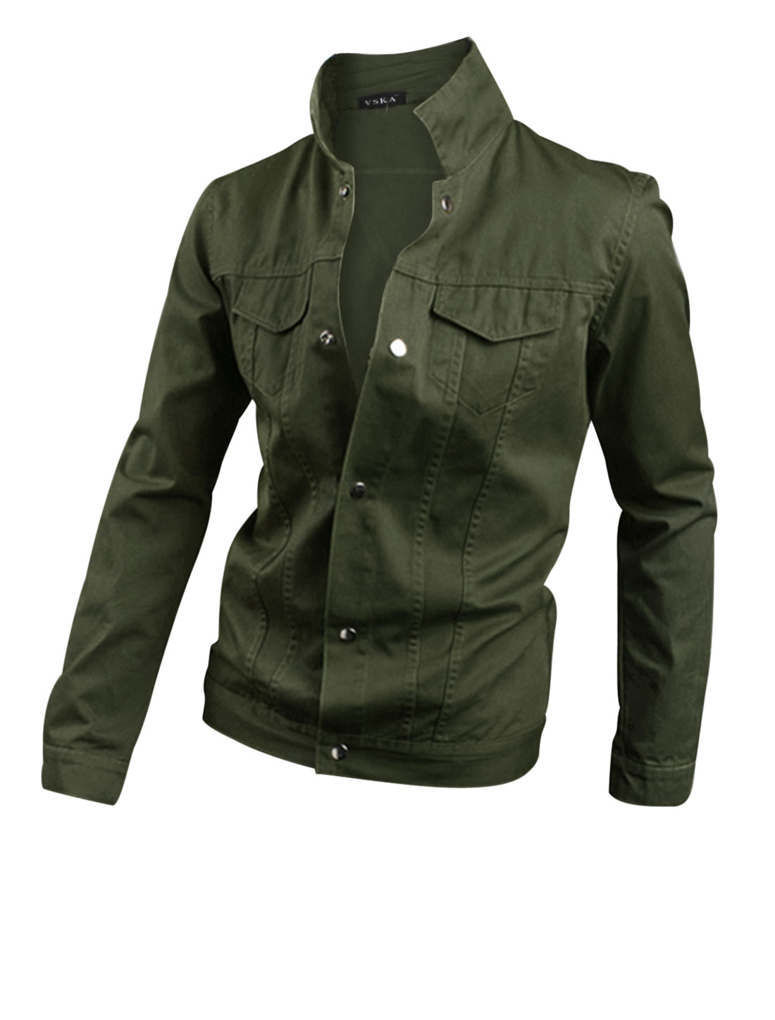 Men Convertible Collar Snap Fastener Closed Casual Jacket Army Green M