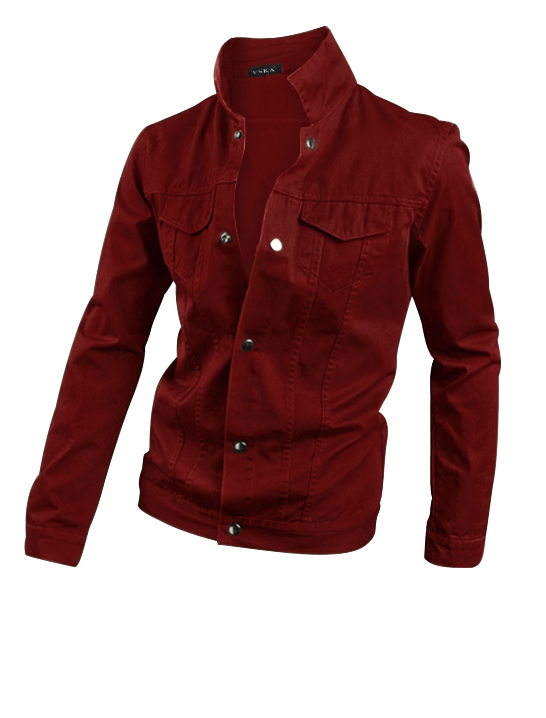 Man Long Sleeves Convertible Collar Stylish Warm Red Casual Jacket M